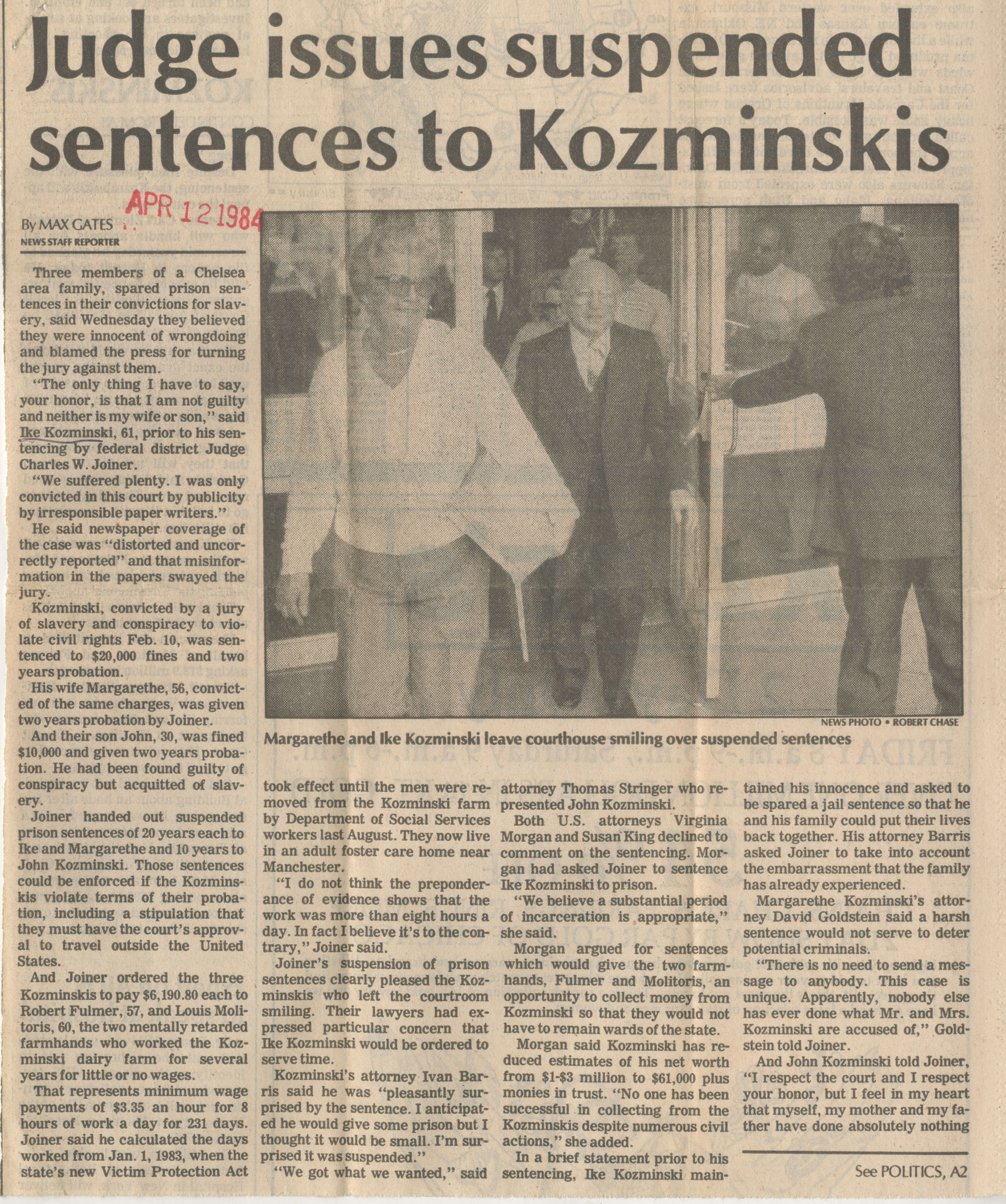Judge issues suspended sentences to Kozminskis image