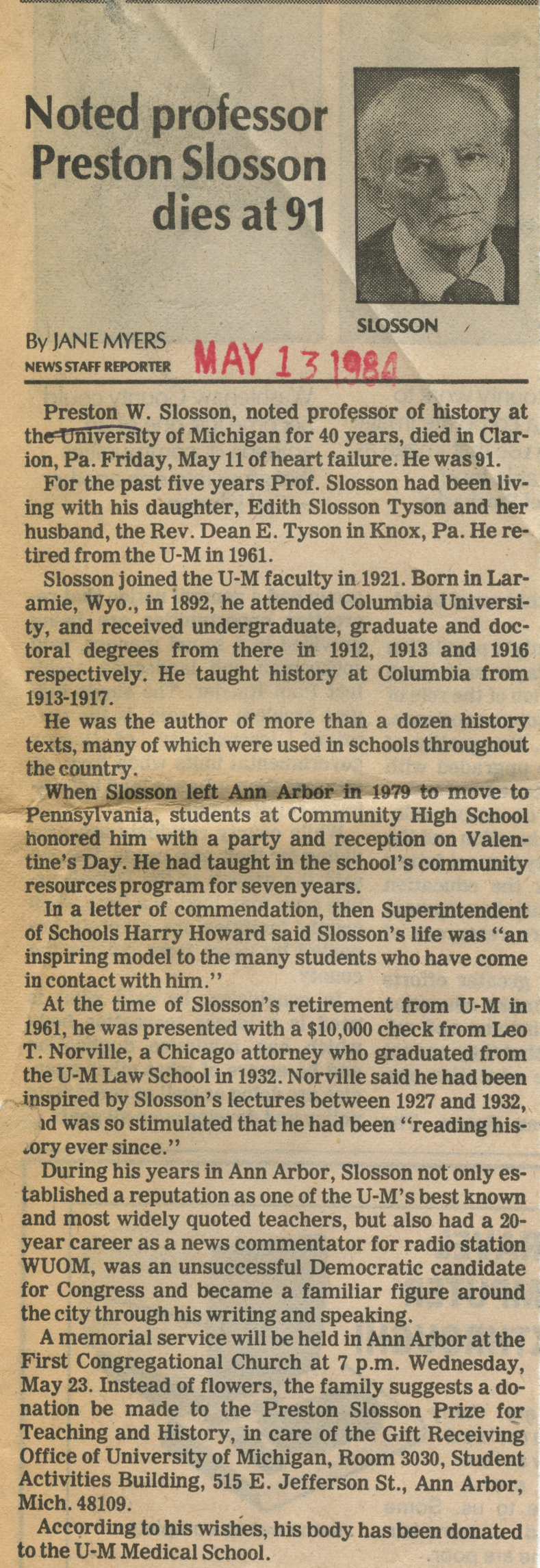 Noted professor Preston Slosson dies at 91 image