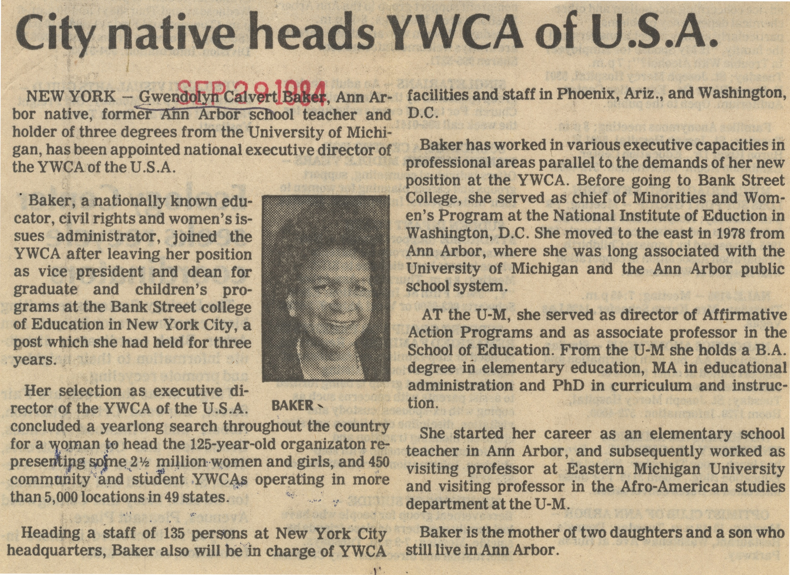 City Native Heads YWCA Of USA image