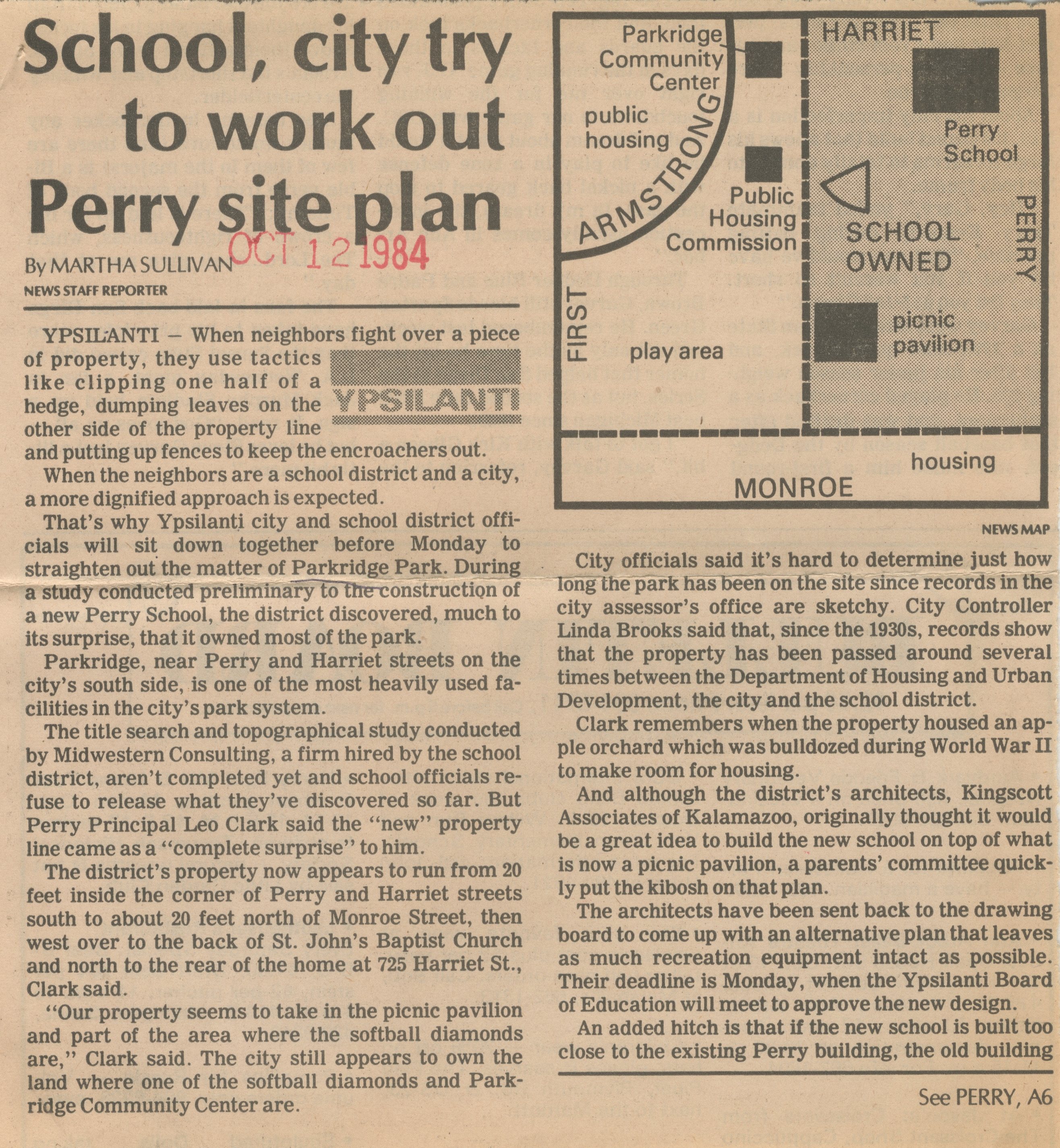 School, City Try To Work Out Perry Site Plan image