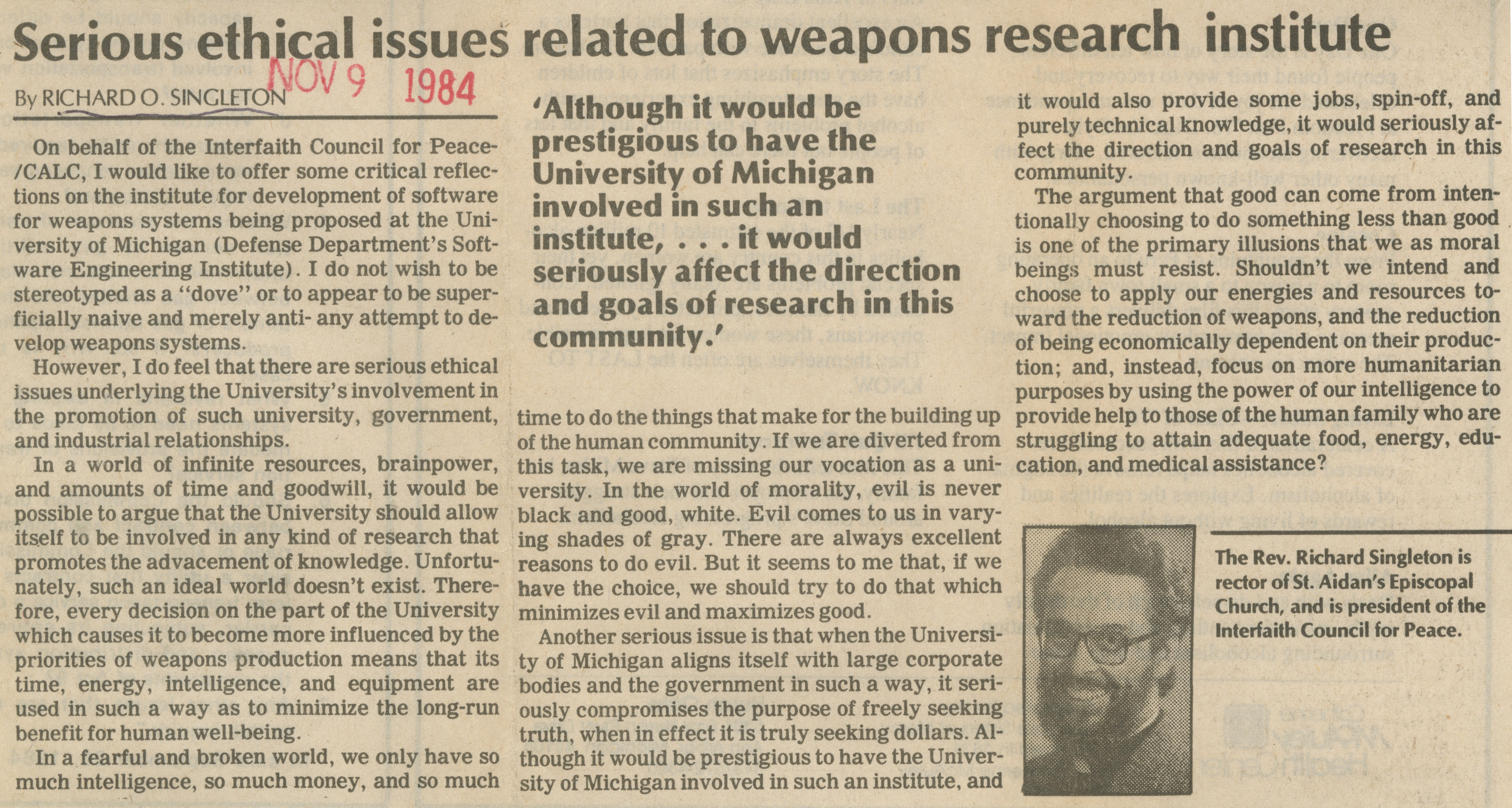 Serious Ethical Issues Related To Weapons Research Institute image