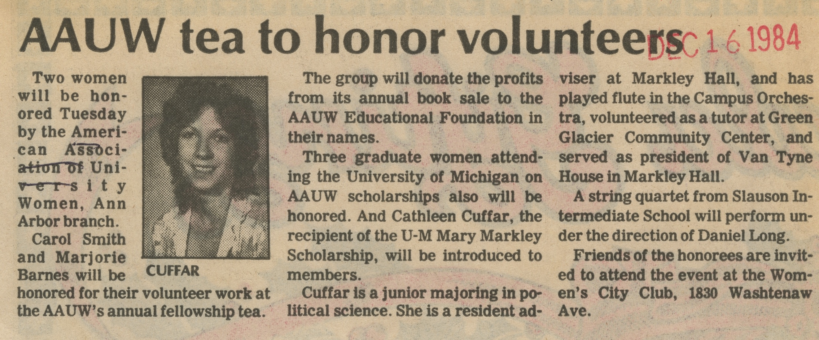 AAUW Tea To Honor Volunteers image