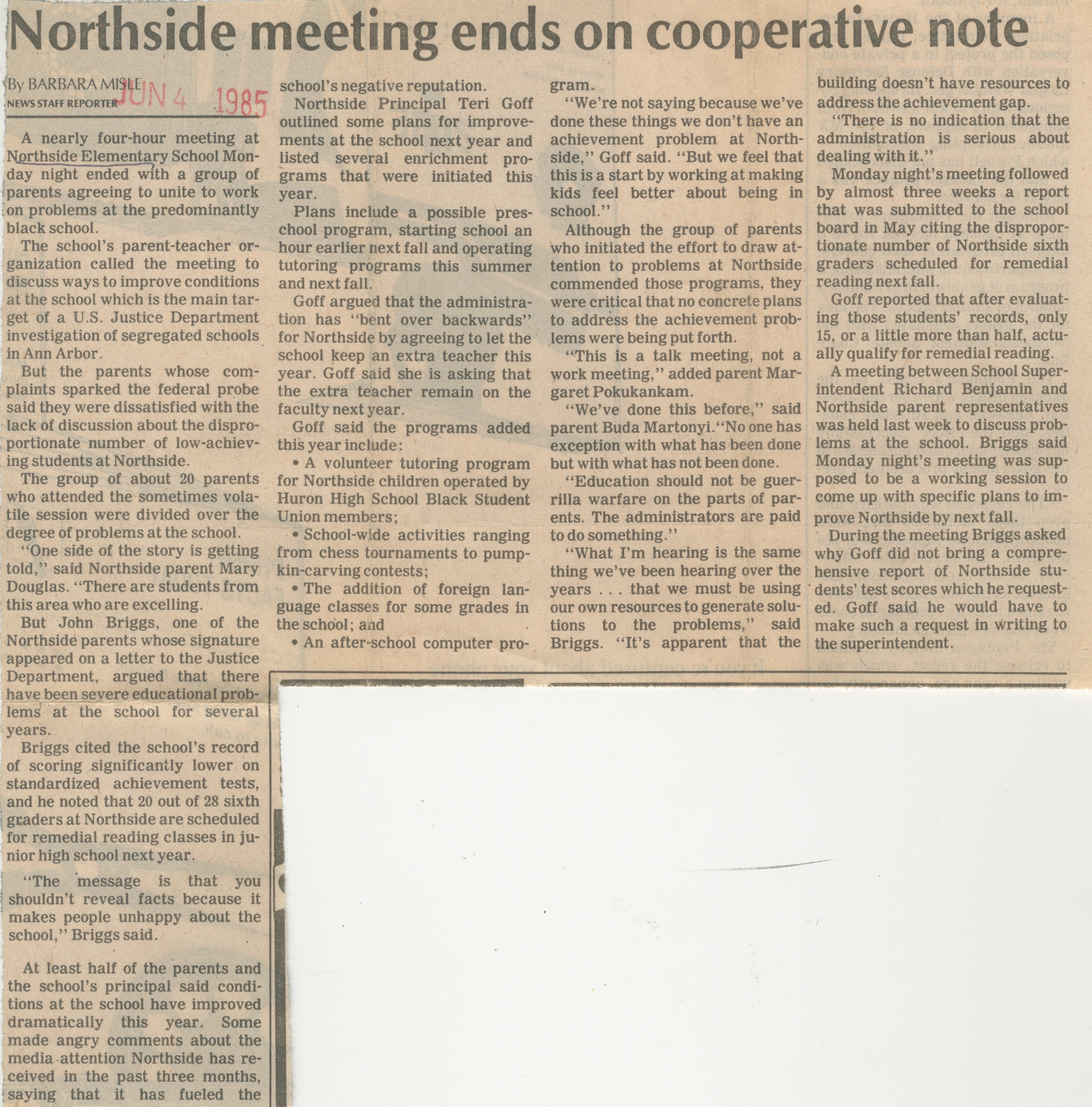 Northside meeting ends on cooperative note image
