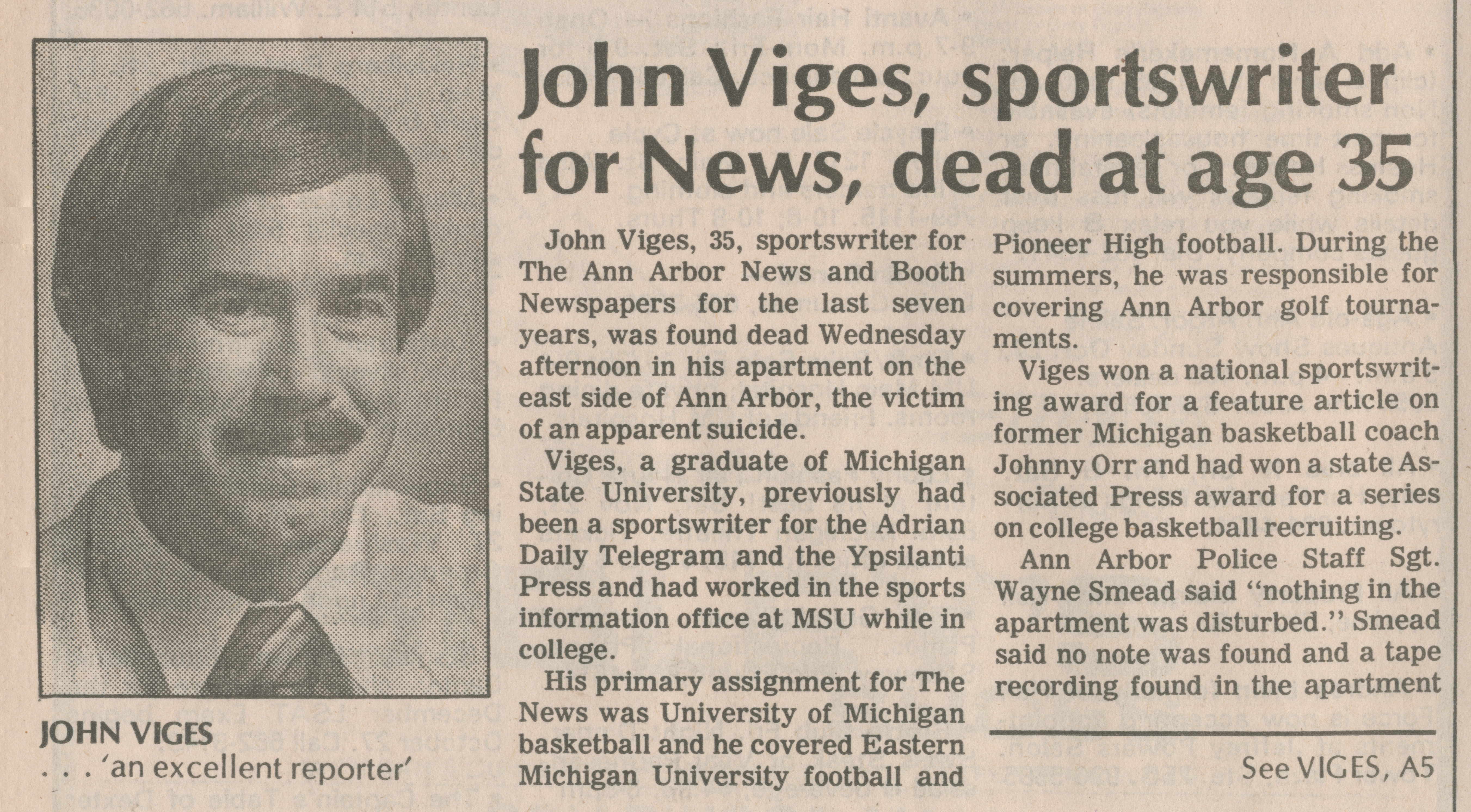 John Viges, sportswriter for News, dead at age 35 image