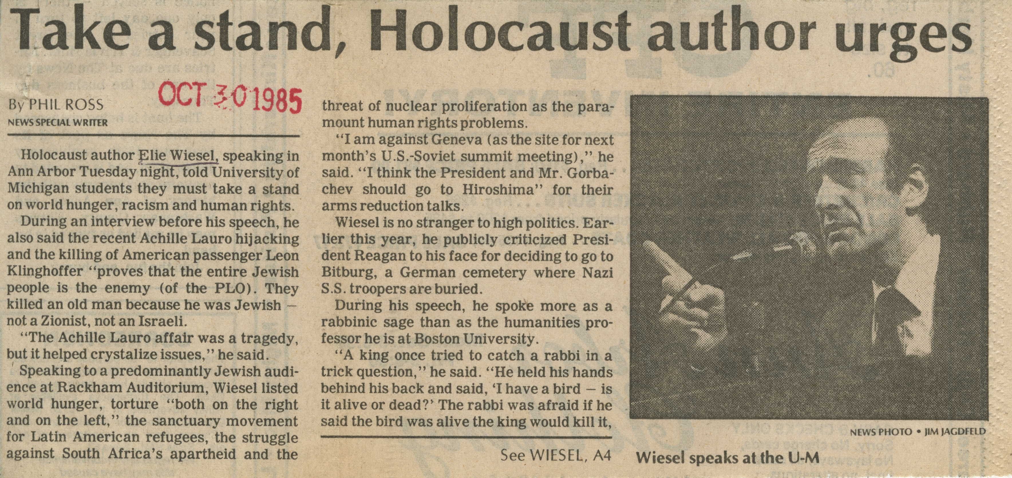 Take A Stand, Holocaust Author Urges image