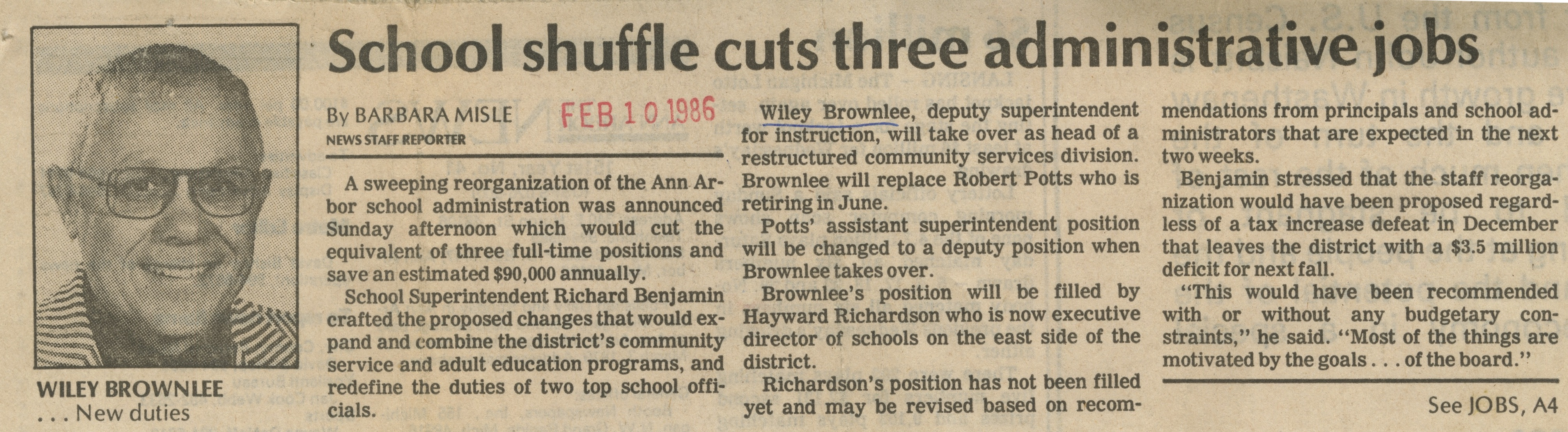 School shuffle cuts three administrative jobs image