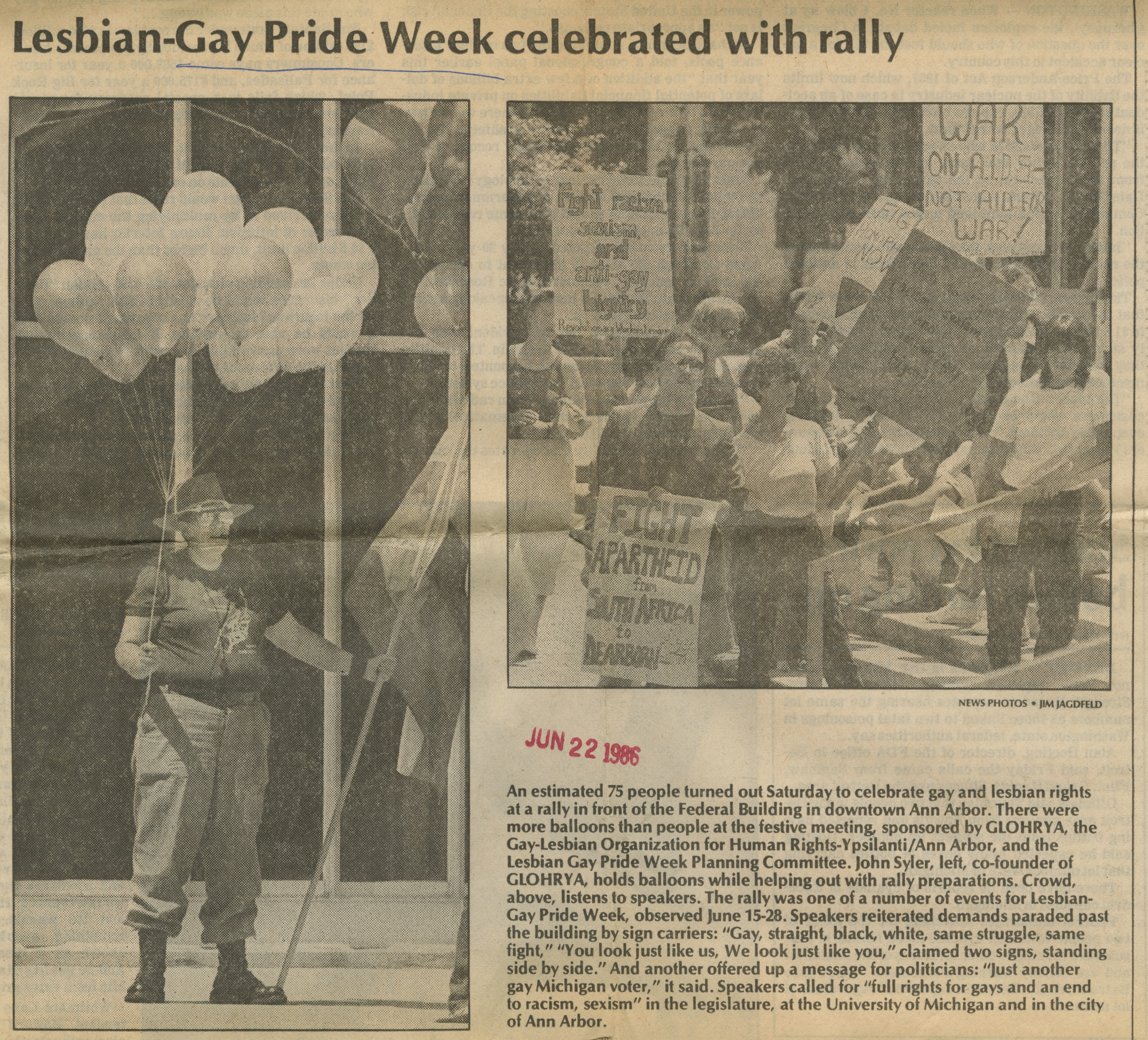 Lesbian-Gay Pride Week Celebrated With Rally image