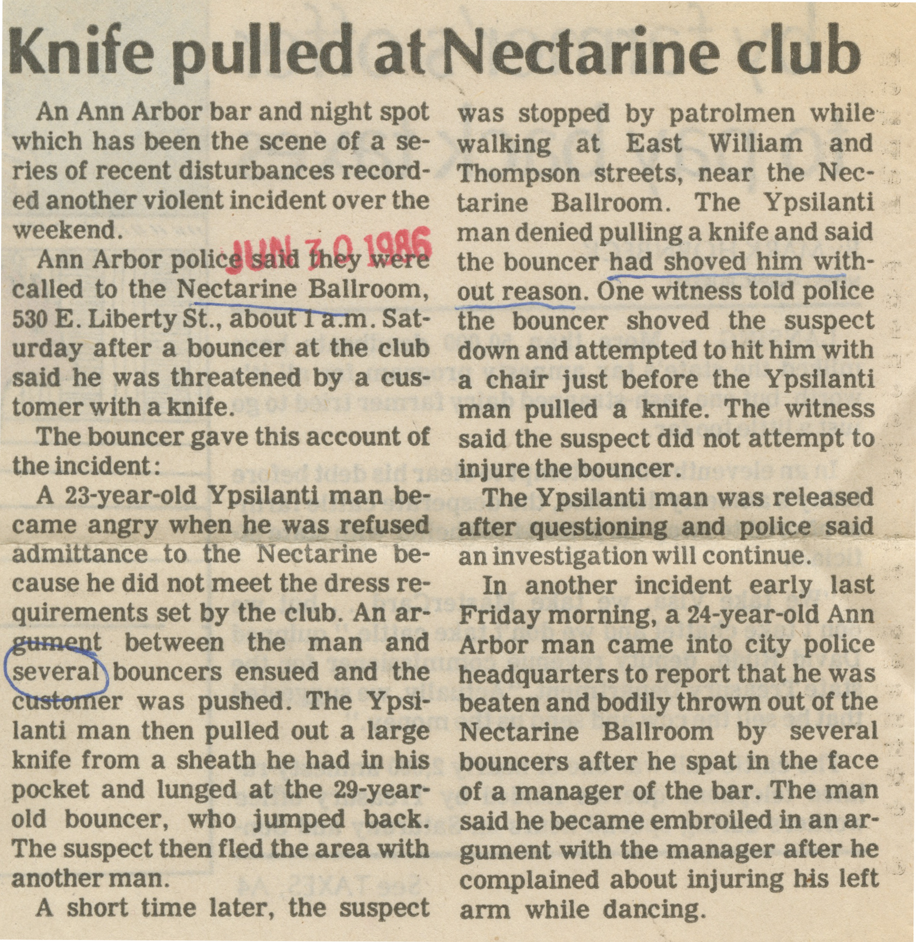 Knife pulled at Nectarine club image
