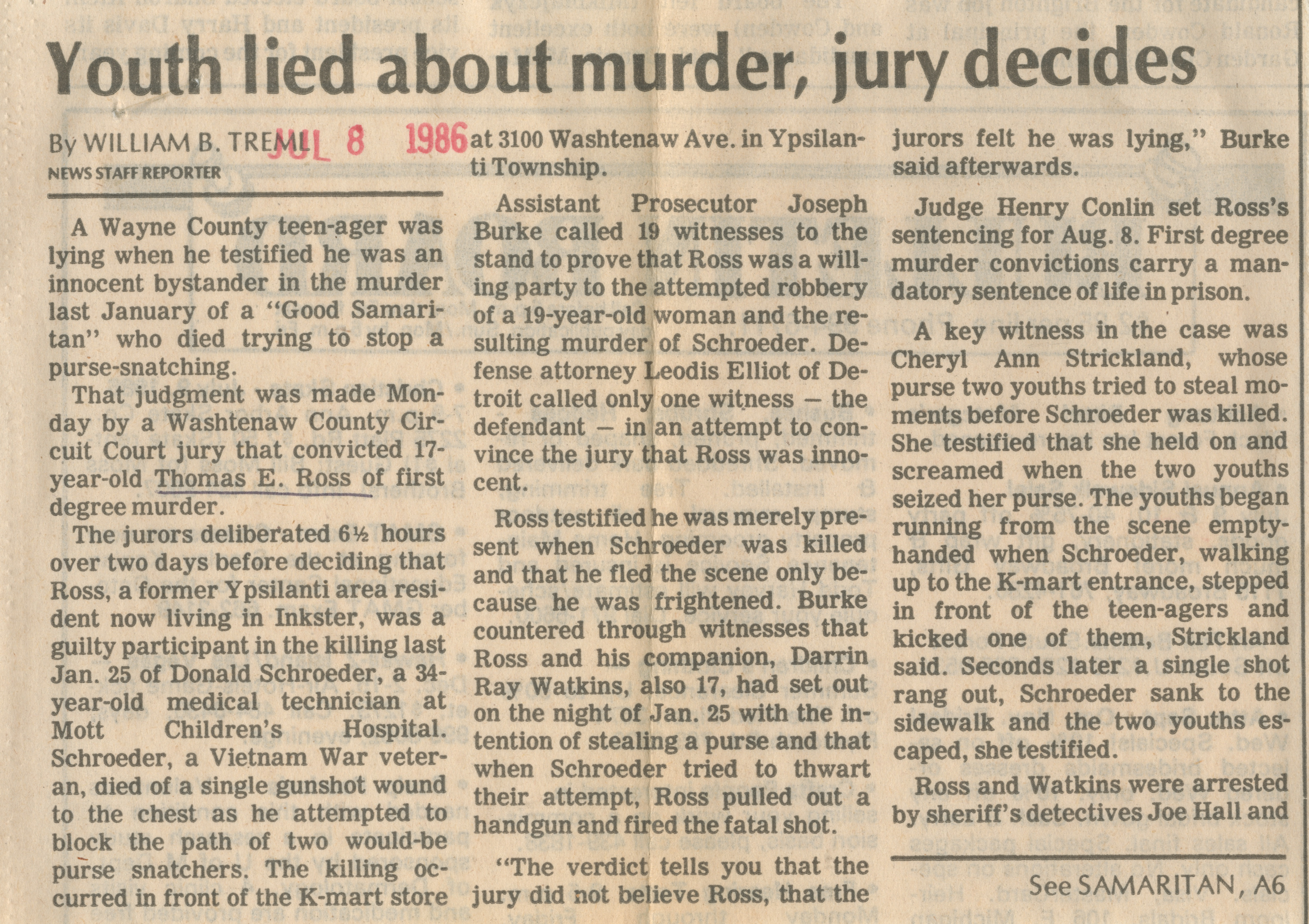 Youth lied about murder, jury decides image