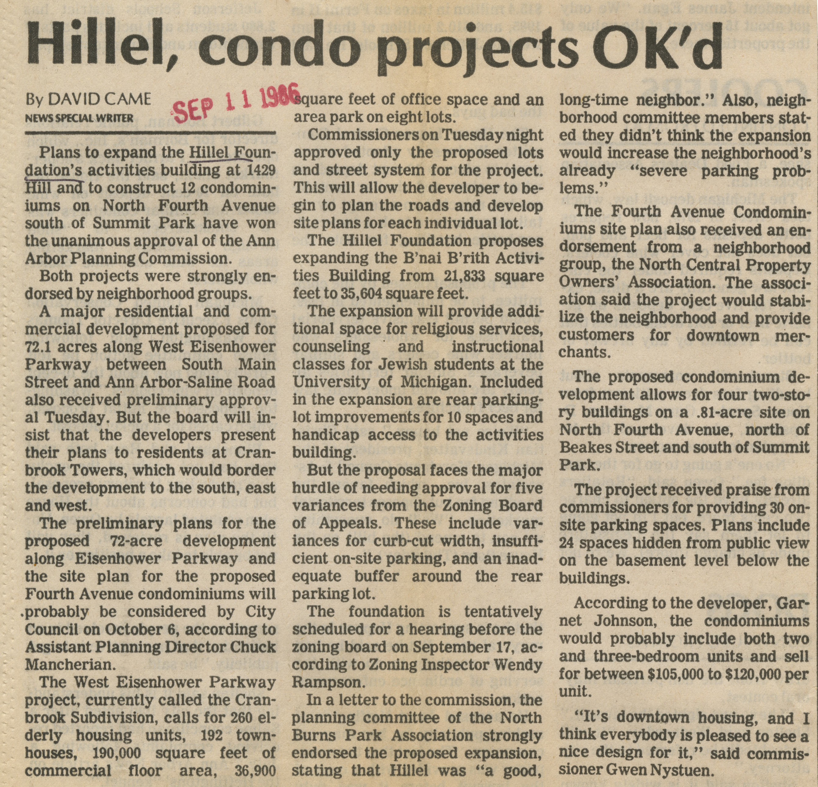 Hillel, Condo Projects OK'd image