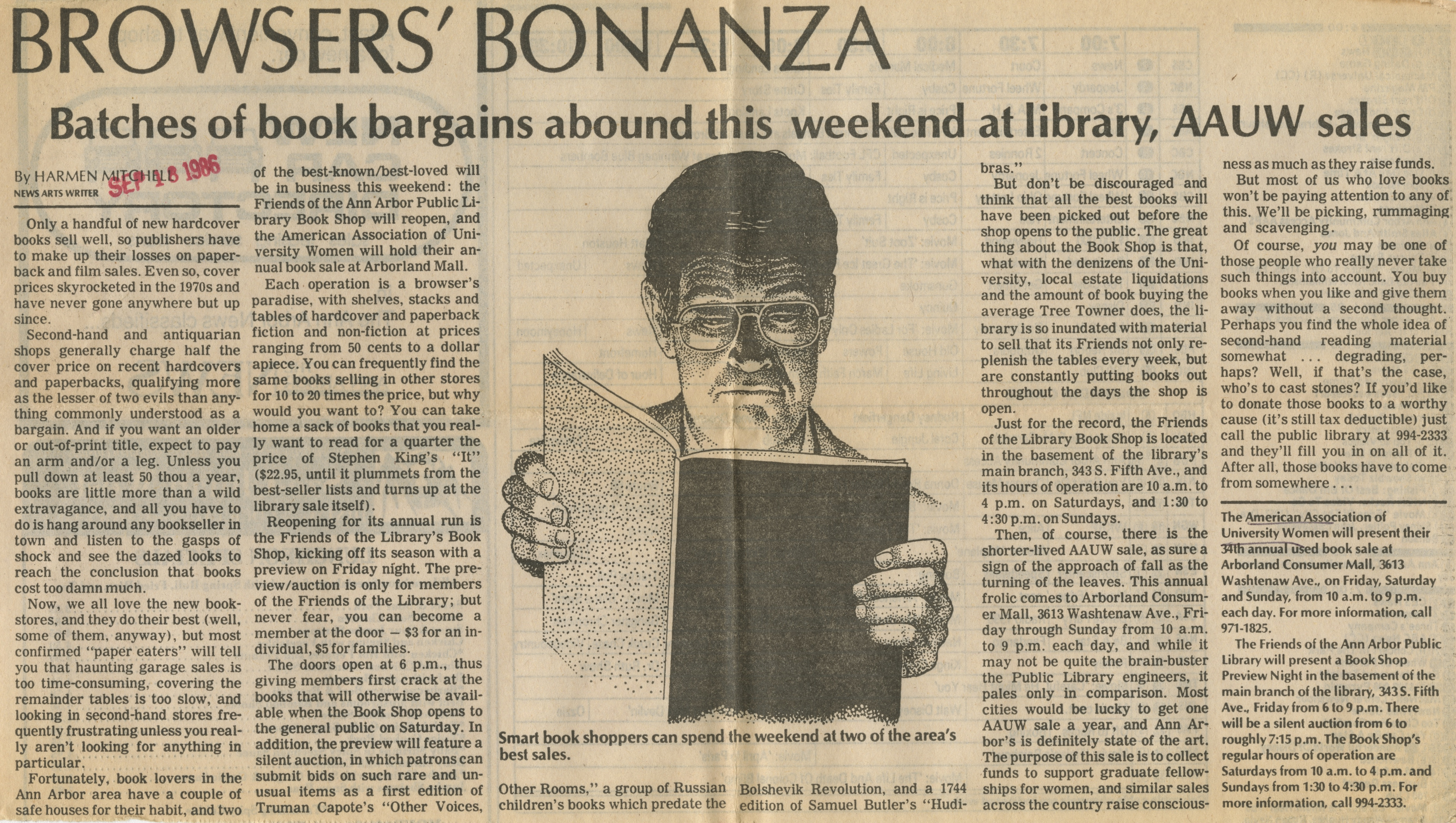 Browsers' Bonanza: Batches of Book Bargains Abound This Weekend at Library, AAUW Sales image