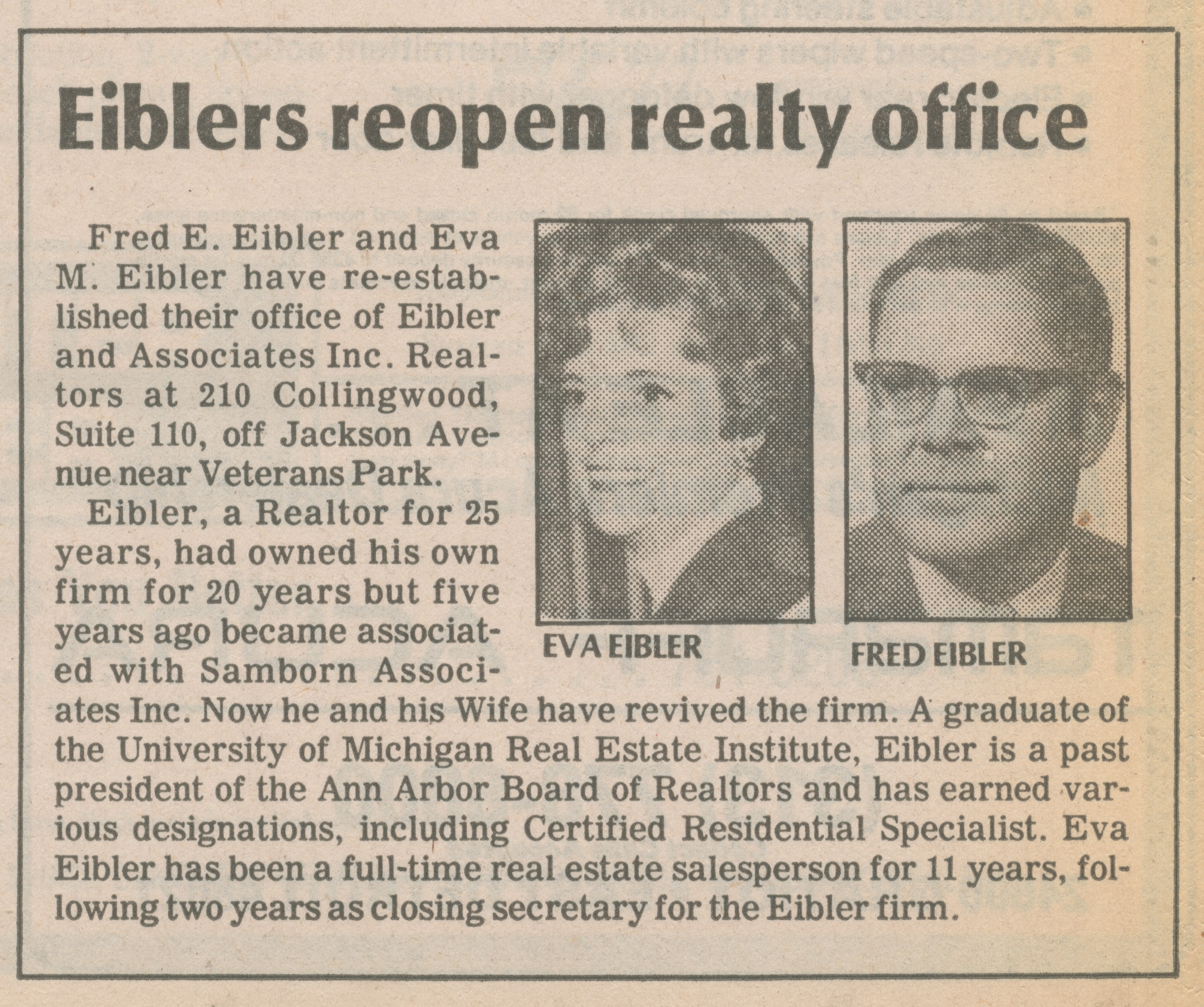 Eiblers reopen realty office image
