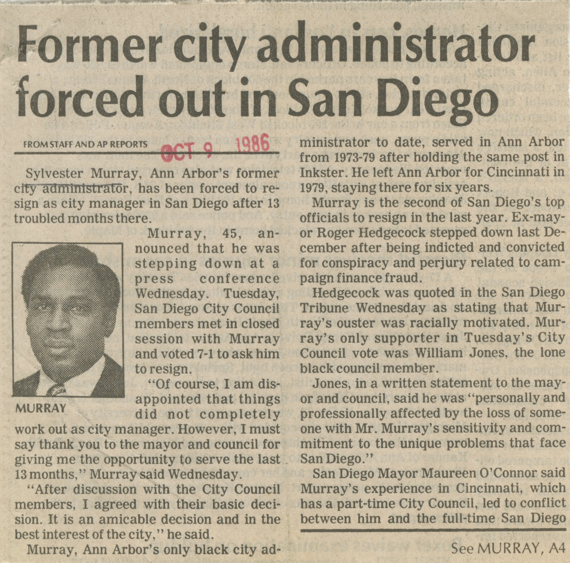 Former City Administrator Forced Out In San Diego image
