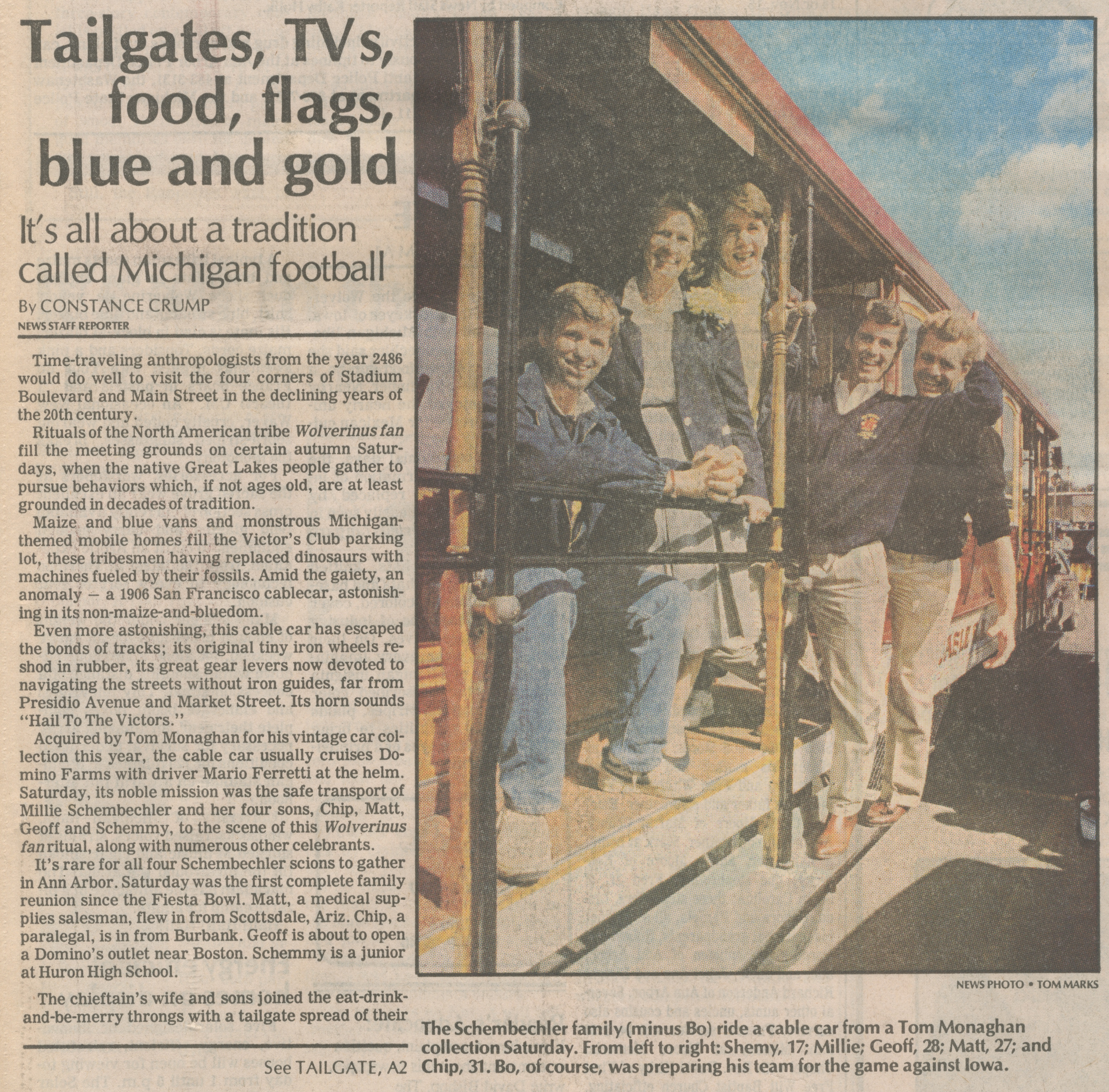 Tailgates, TVs, food, flags, blue and gold image