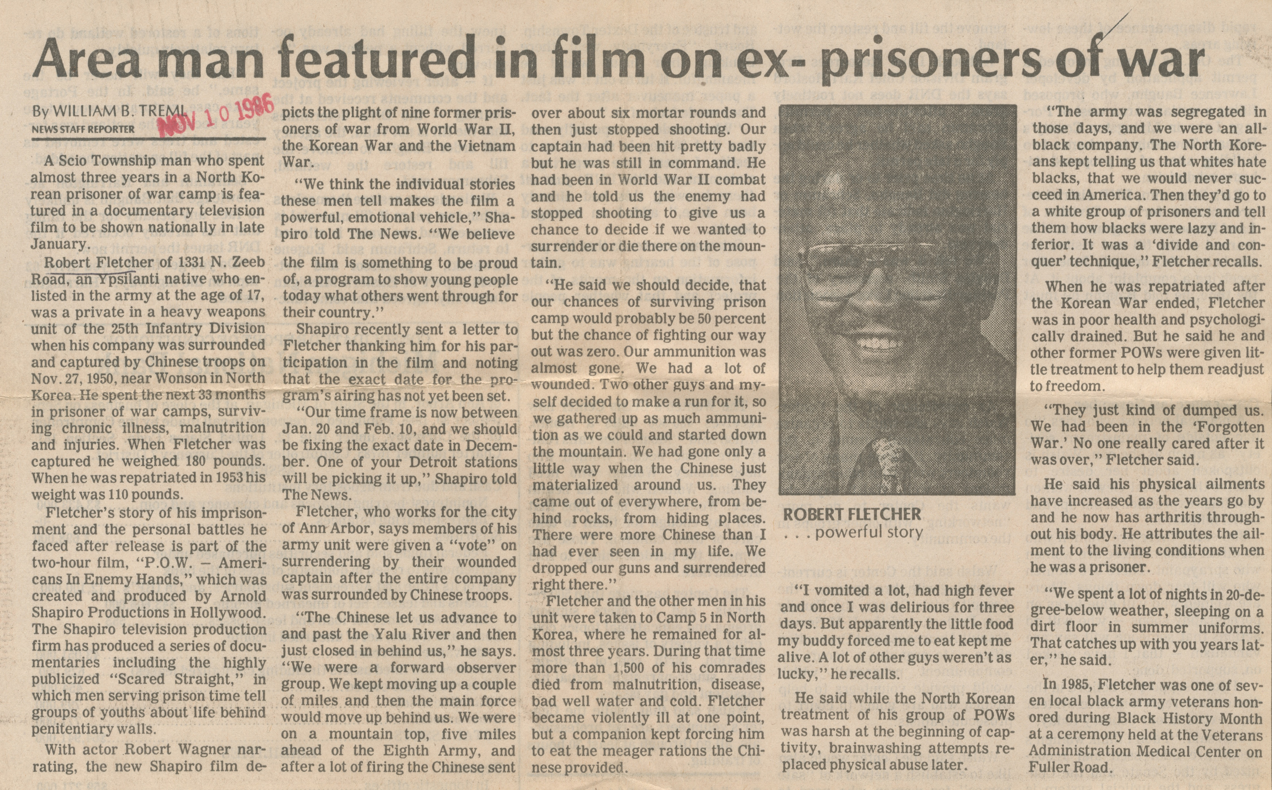 Area Man Featured in Film on Ex-Prisoners of War image