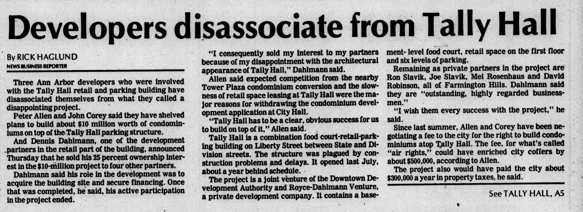 Developers disassociate from Tally Hall image