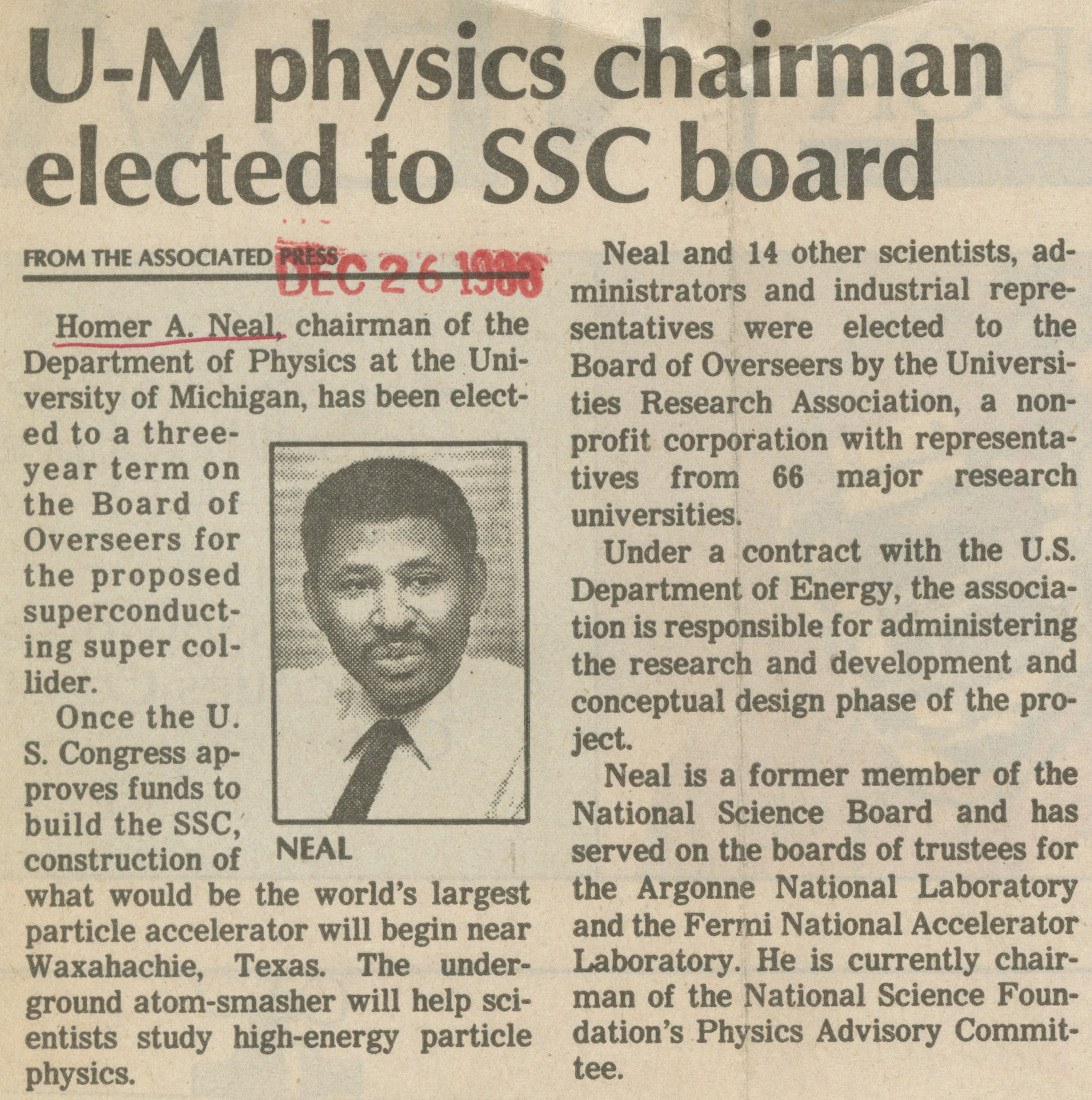 U-M Physics Chairman Elected To SSC Board image