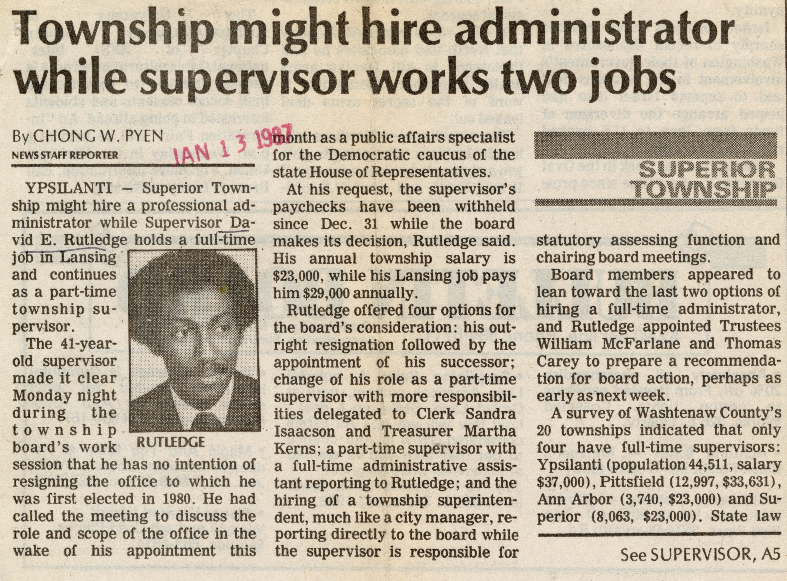 Township Might Hire Administrator While Supervisor Works Two Jobs image