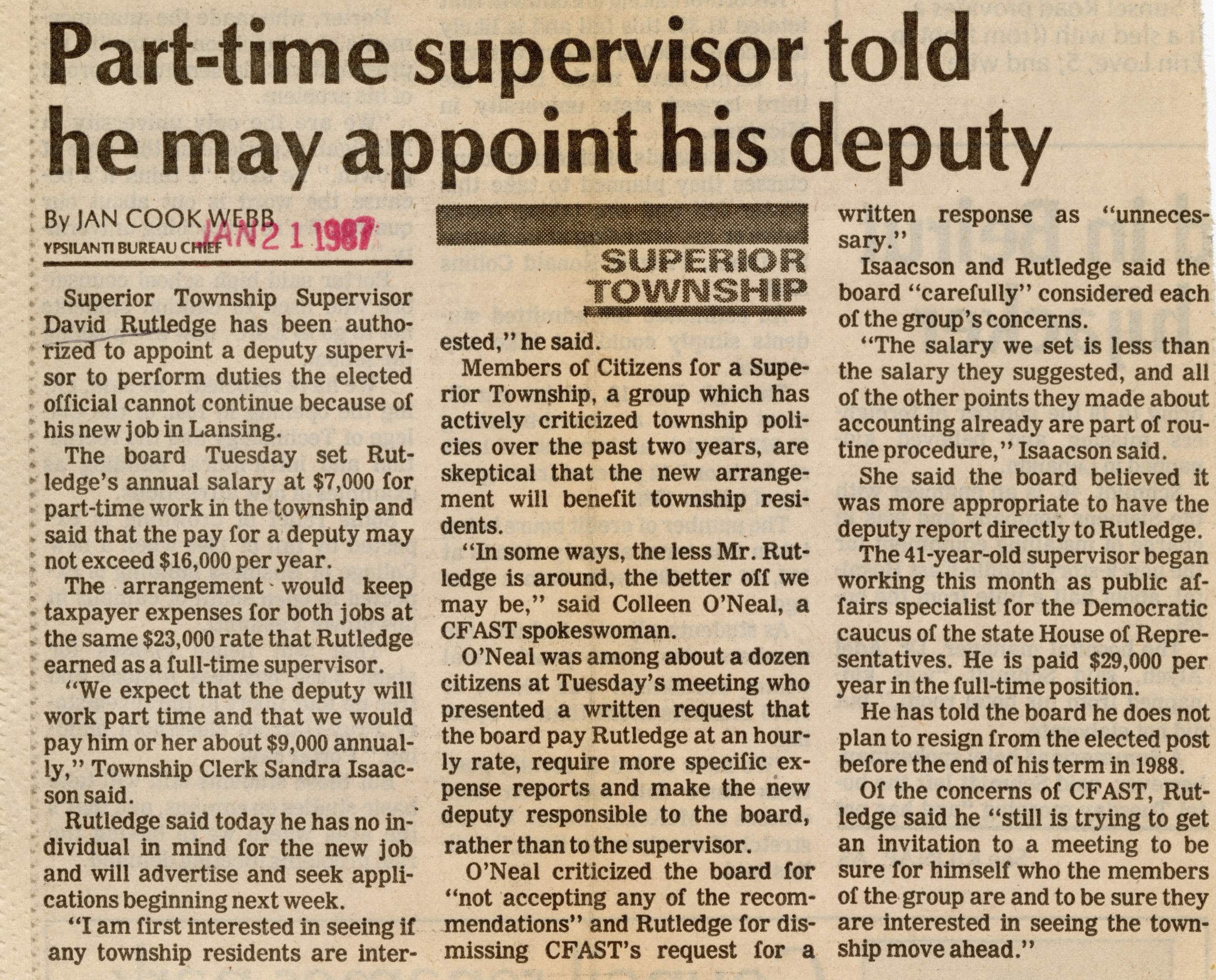 Part-time Supervisor Told He May Appoint His Deputy image