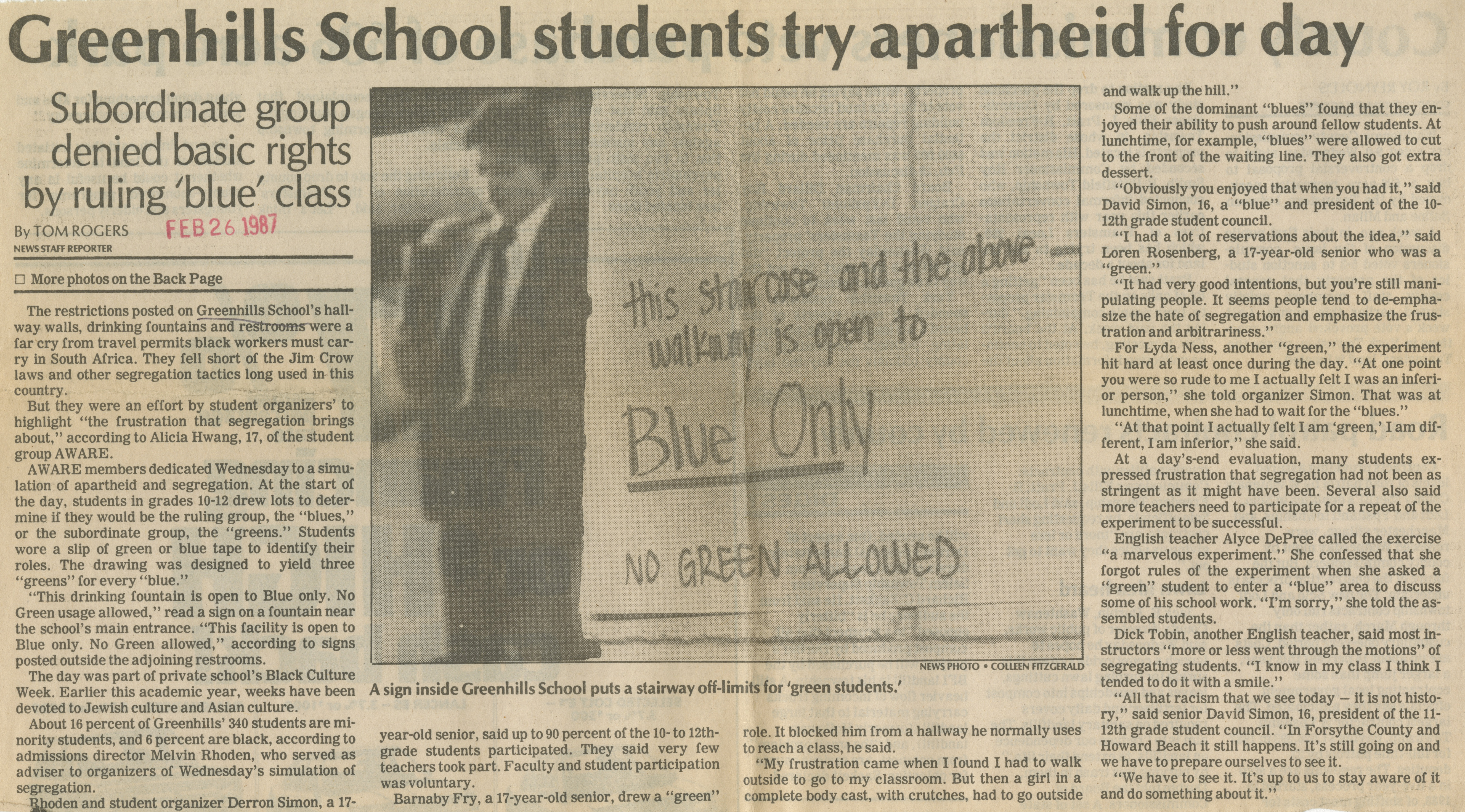 Greenhills School Students Try Apartheid For Day image