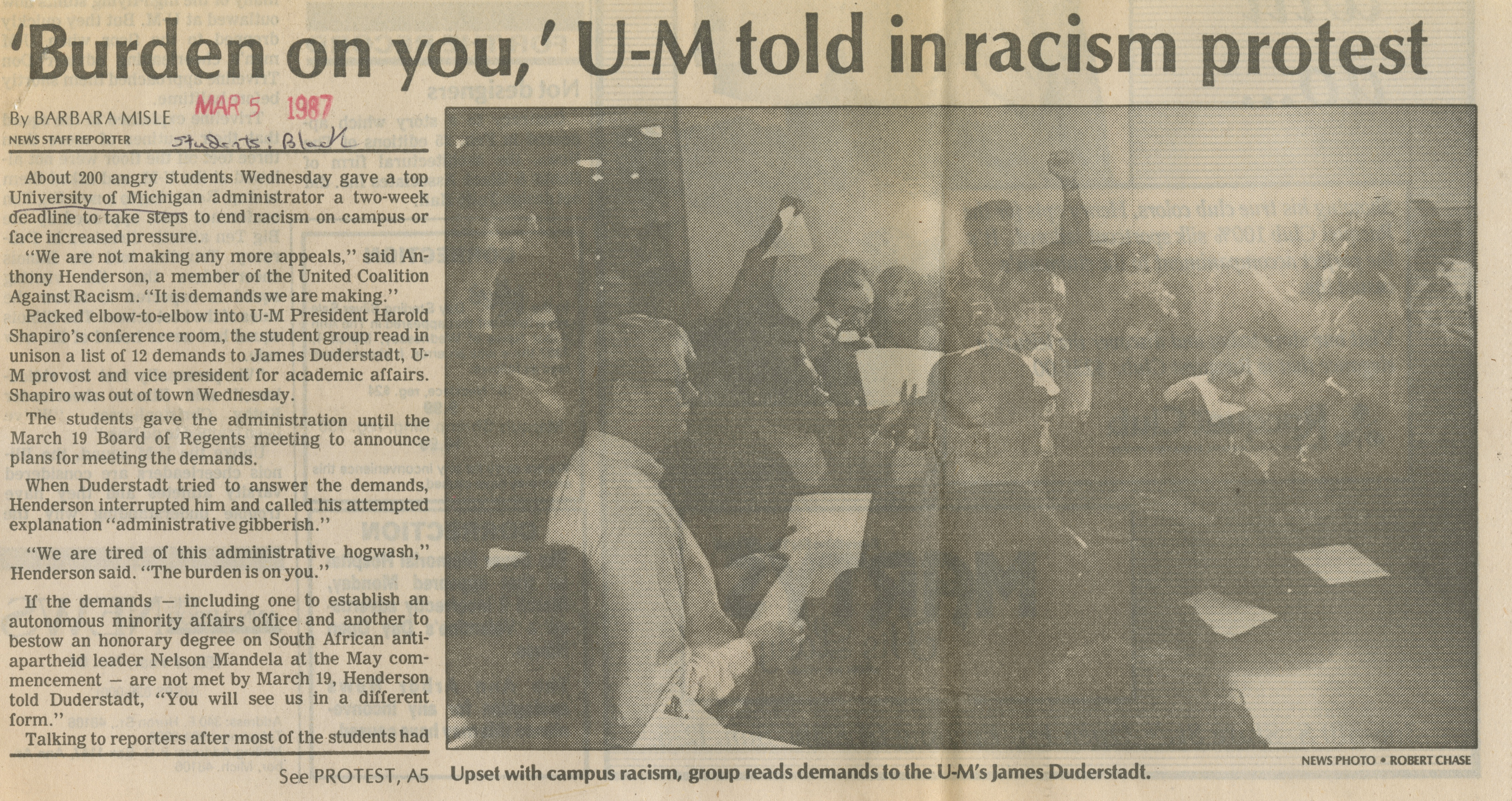 'Burden On You,' U-M Told In Racism Protest image