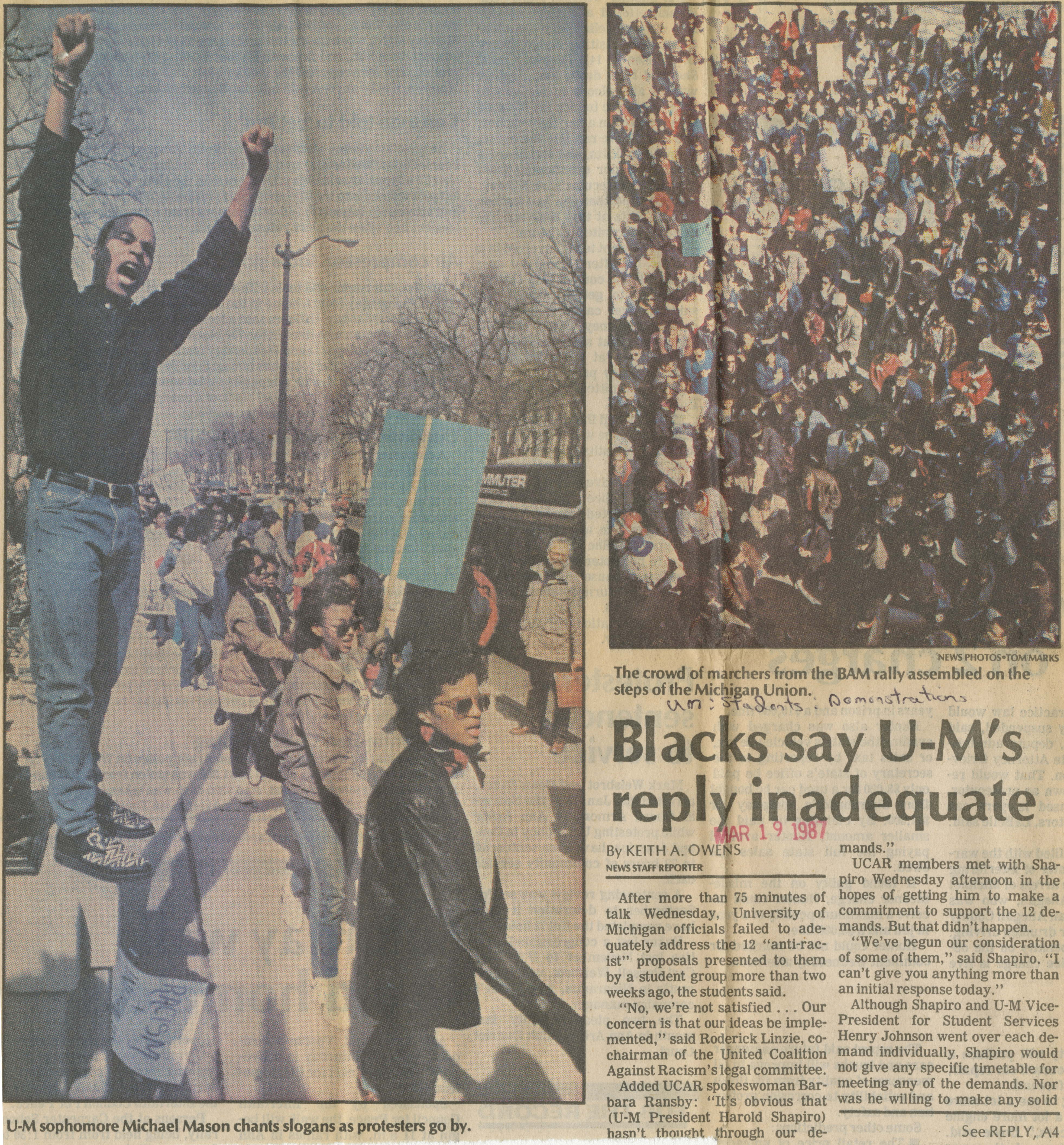 Blacks Say UM's Reply Inadequate image