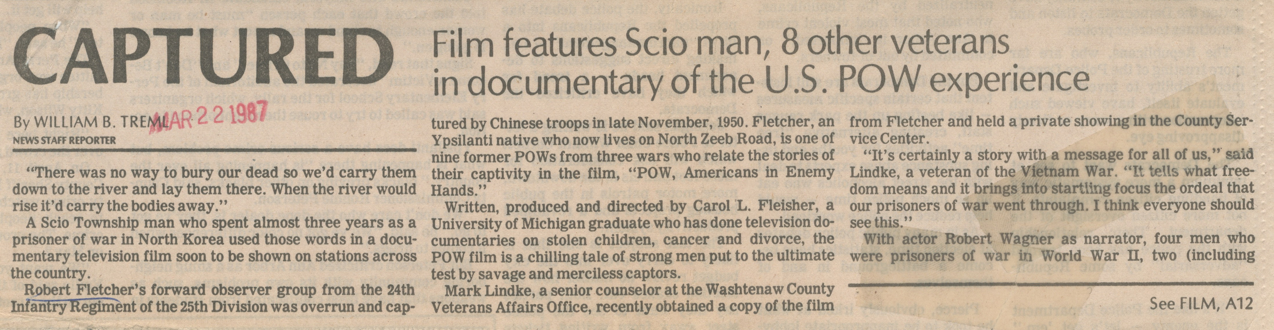 Captured: Film Features Scio Man, 8 Other Veterans in Documentary of the U.S. POW Experience image