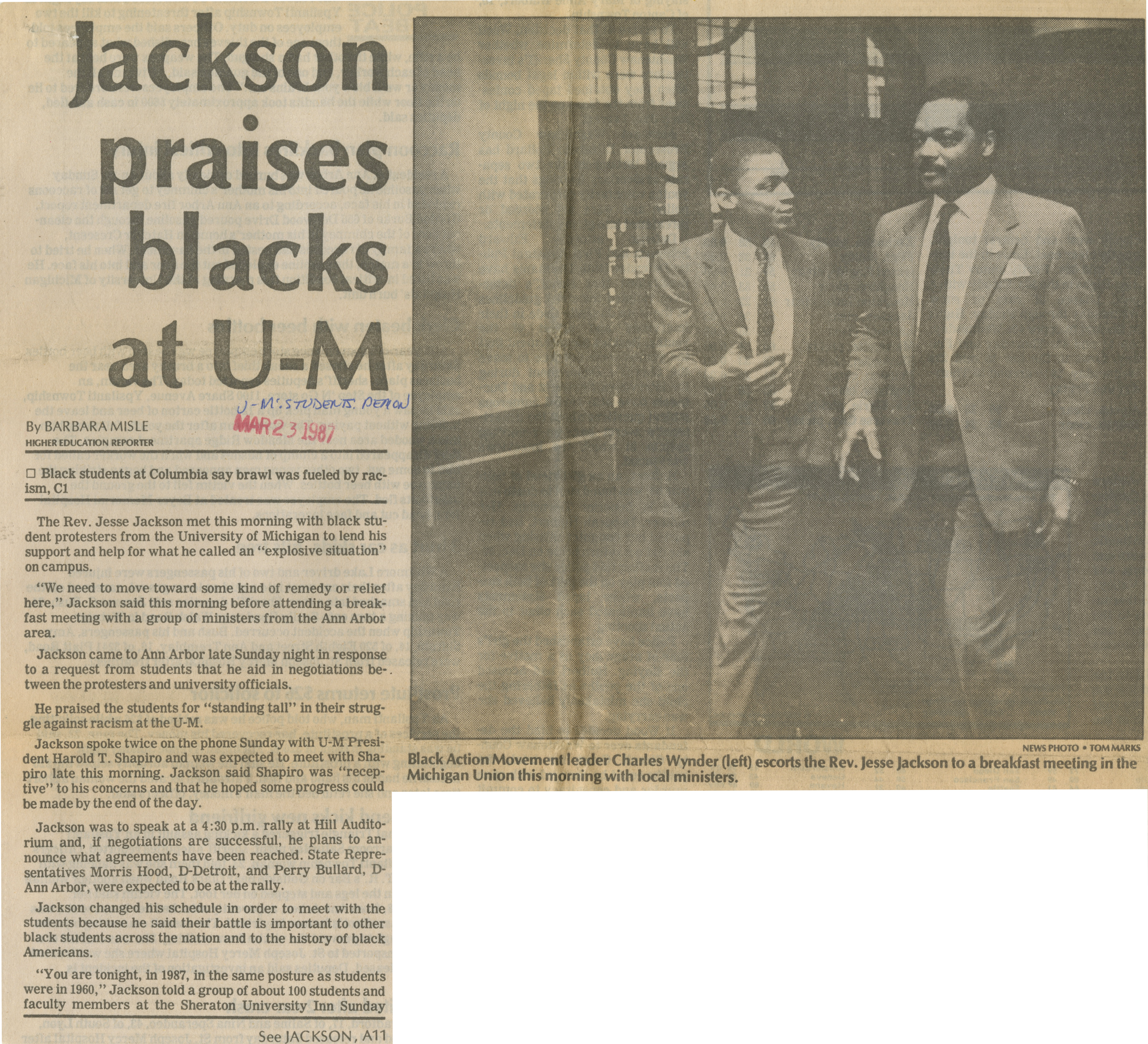 Jackson Praises Blacks At U-M image