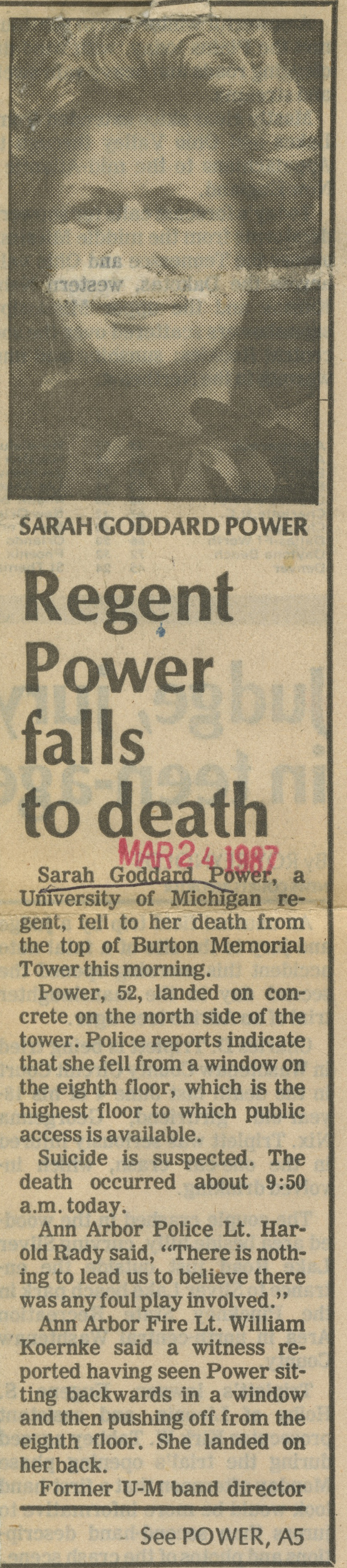 Regent Power Falls To Death image