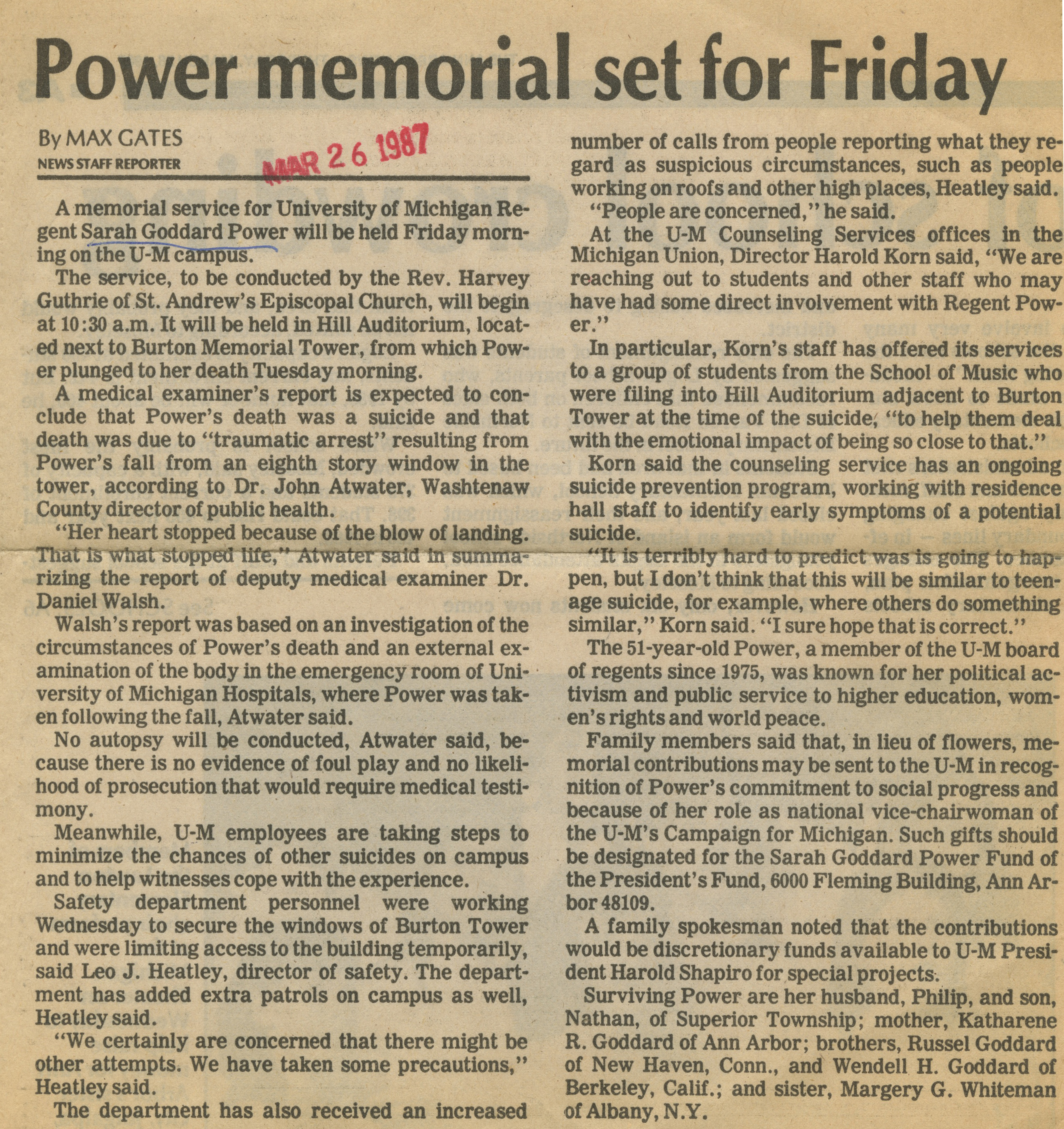 Power Memorial Set For Friday image