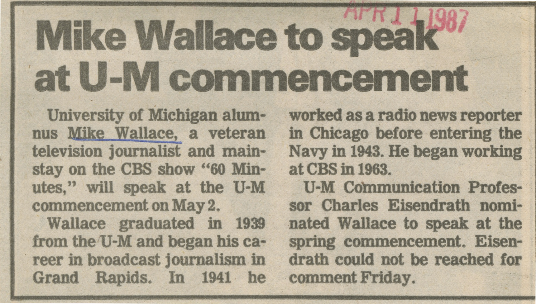 Mike Wallace To Speak At U-M Commencement image