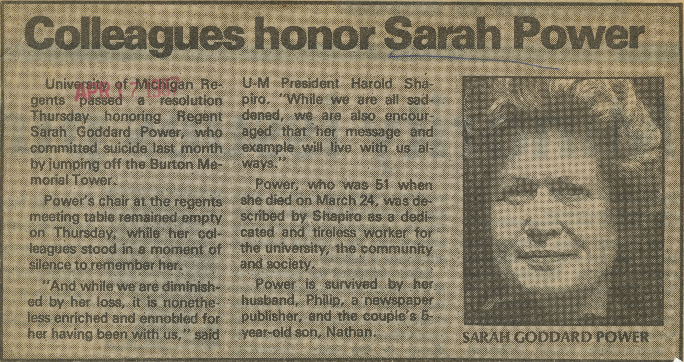 Colleagues Honor Sarah Power image