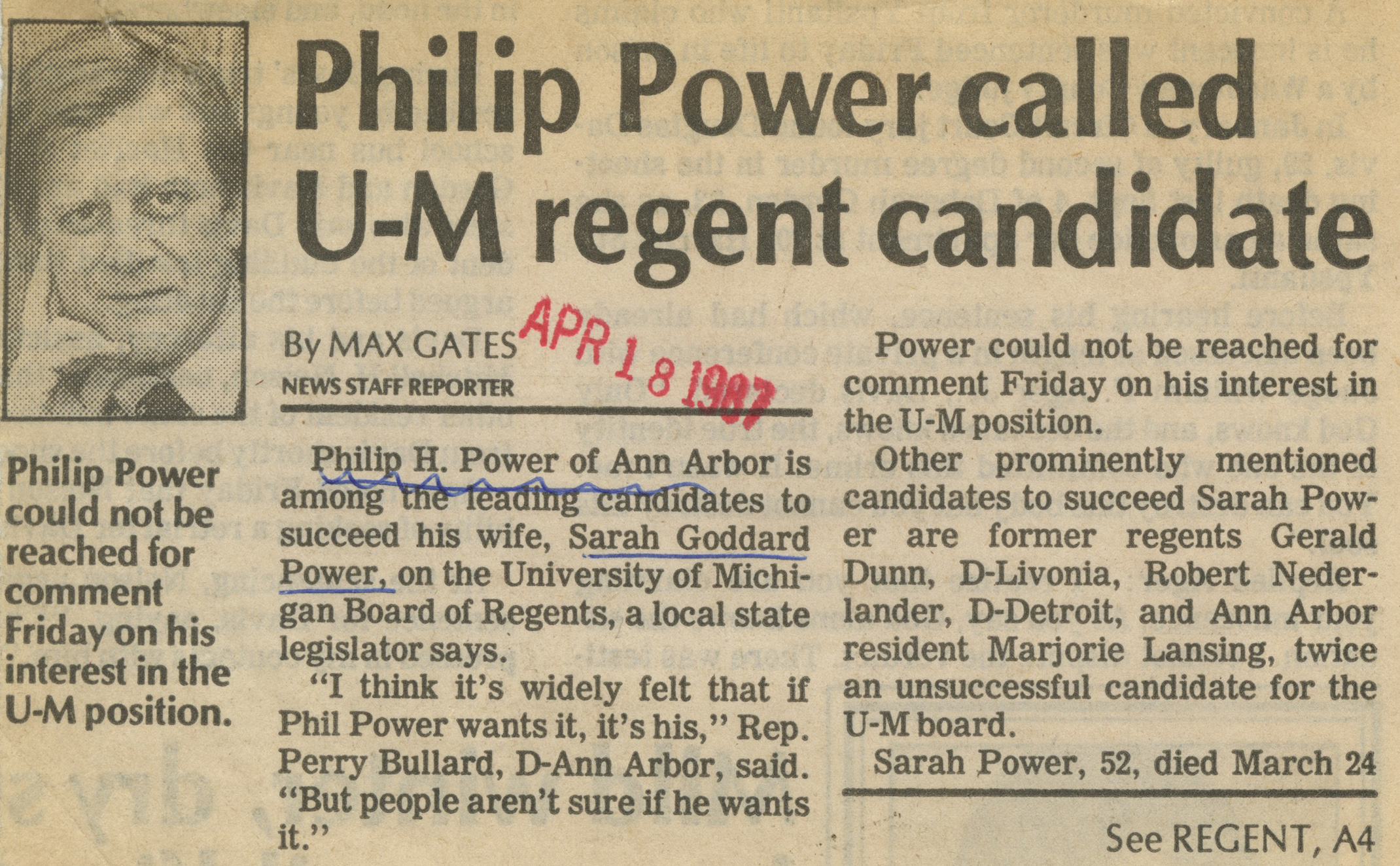 Philip Power Called U-M Regent Candidate image