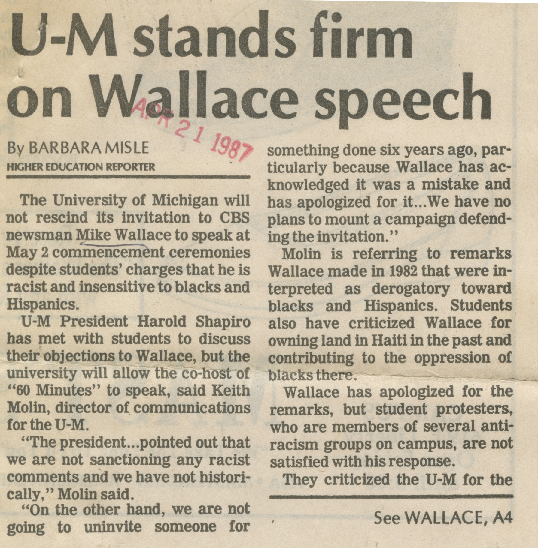 U-M Stands Firm On Wallace Speech image