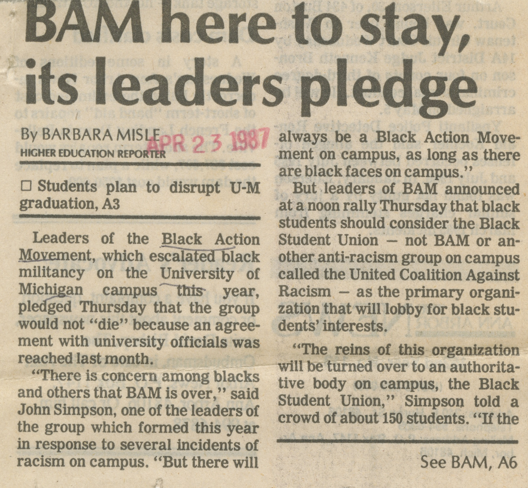 BAM Here To Stay, Its Leaders Pledge image