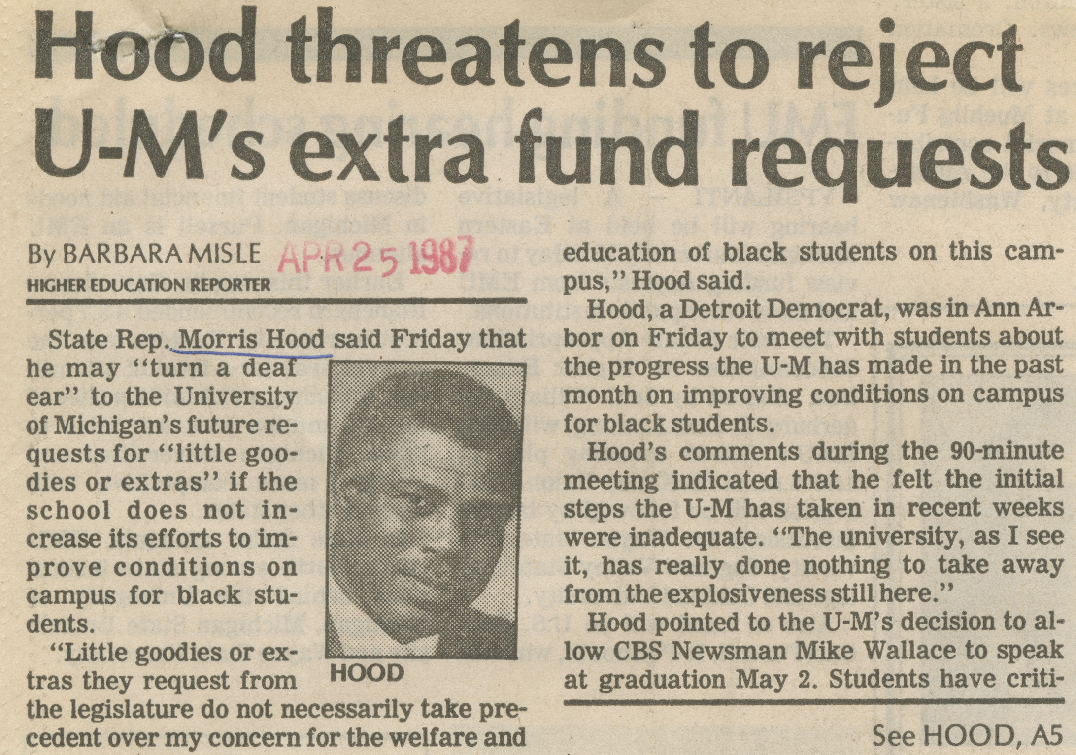 Hood Threatens To Reject U-M's Extra Fund Requests image
