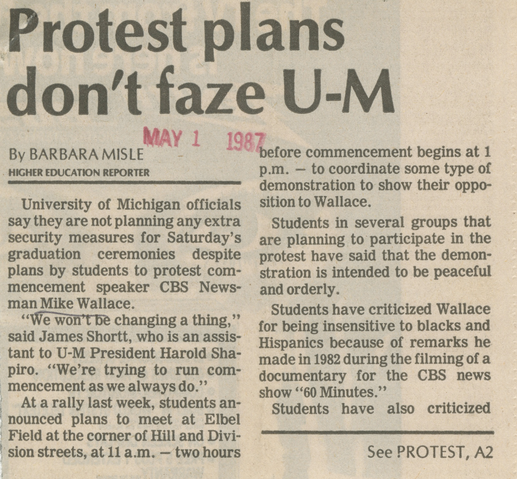 Protest Plans Don't Faze U-M image