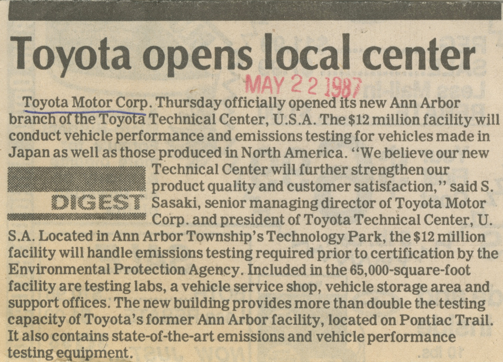 Toyota Opens Local Center image