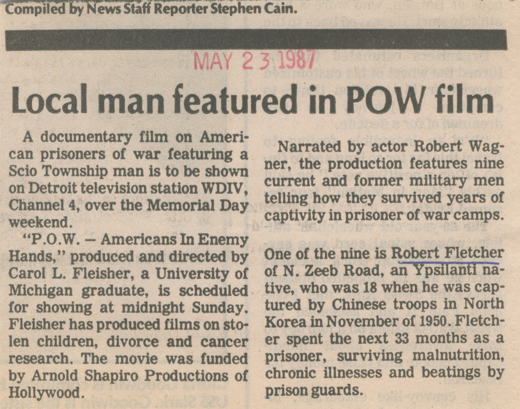 Local Man Featured in POW Film image