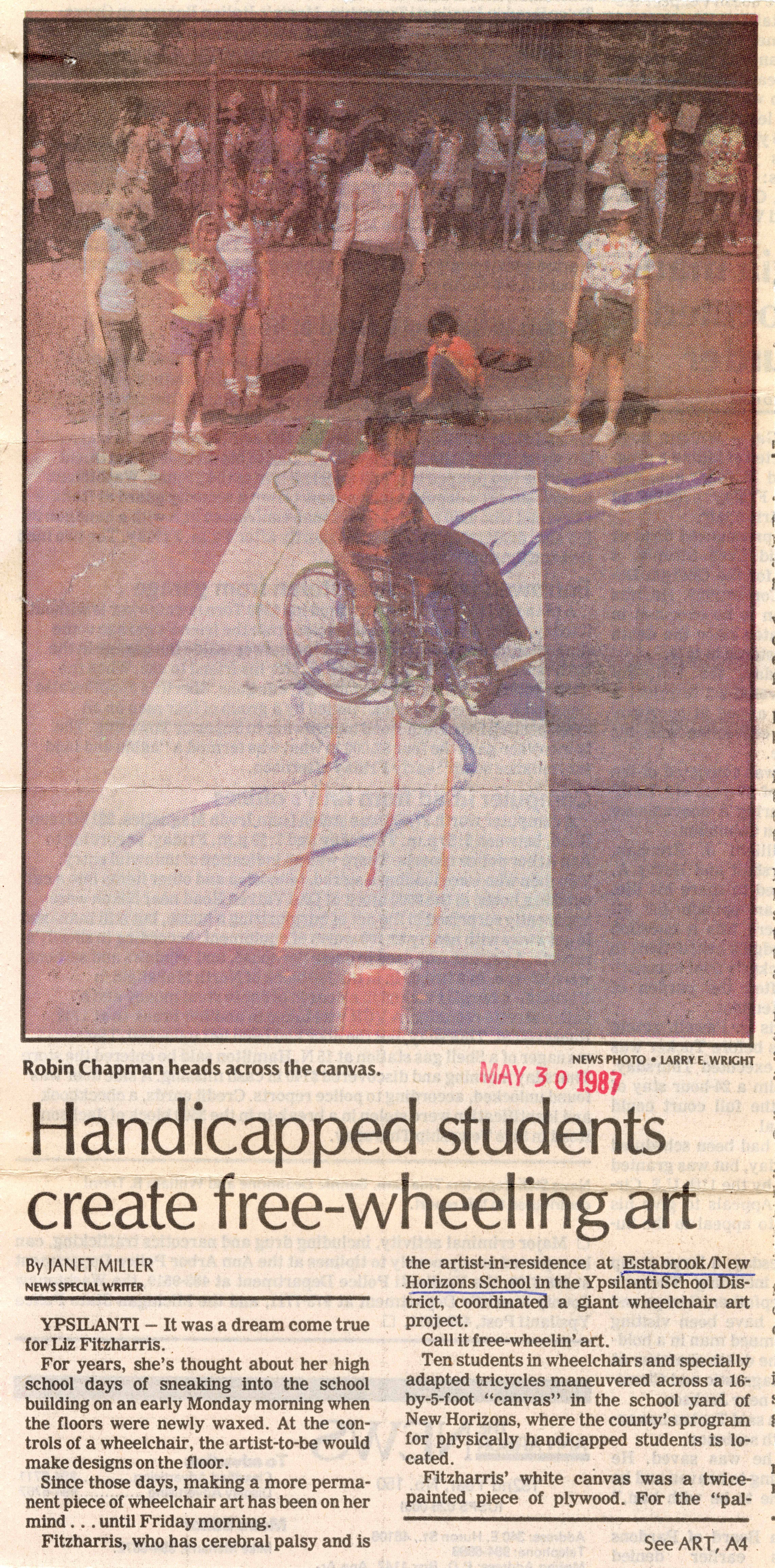 Handicapped students create free-wheeling art image