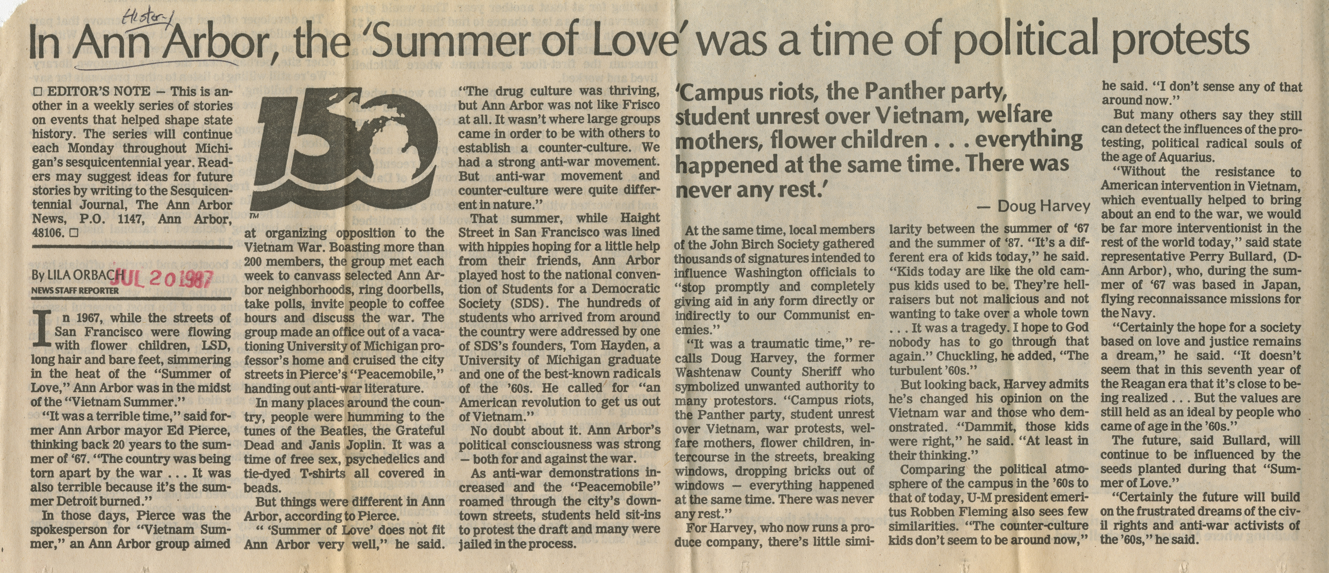 In Ann Arbor, the 'Summer of Love' was a time of political protests image