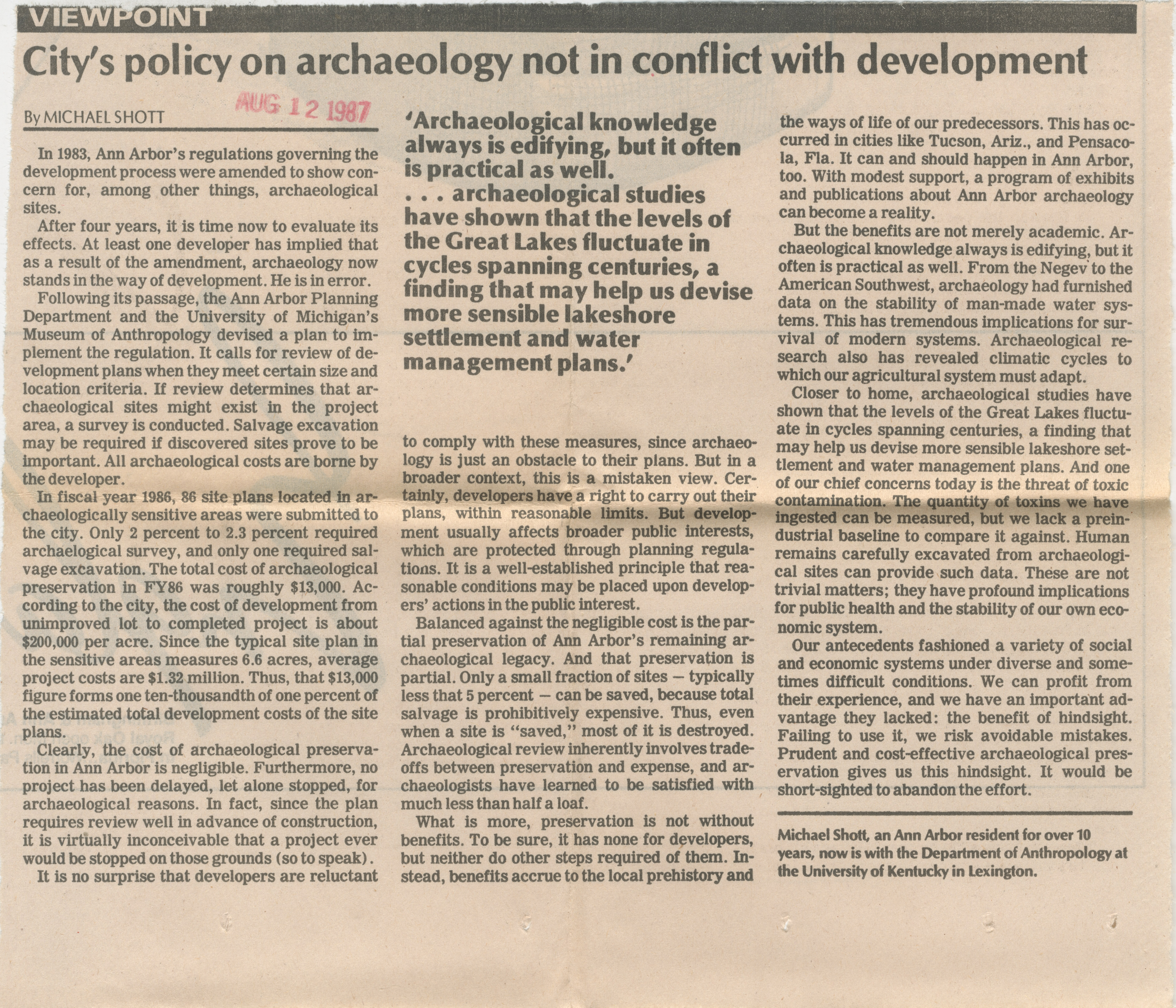 City's Policy On Archaeology Not In Conflict With Development image