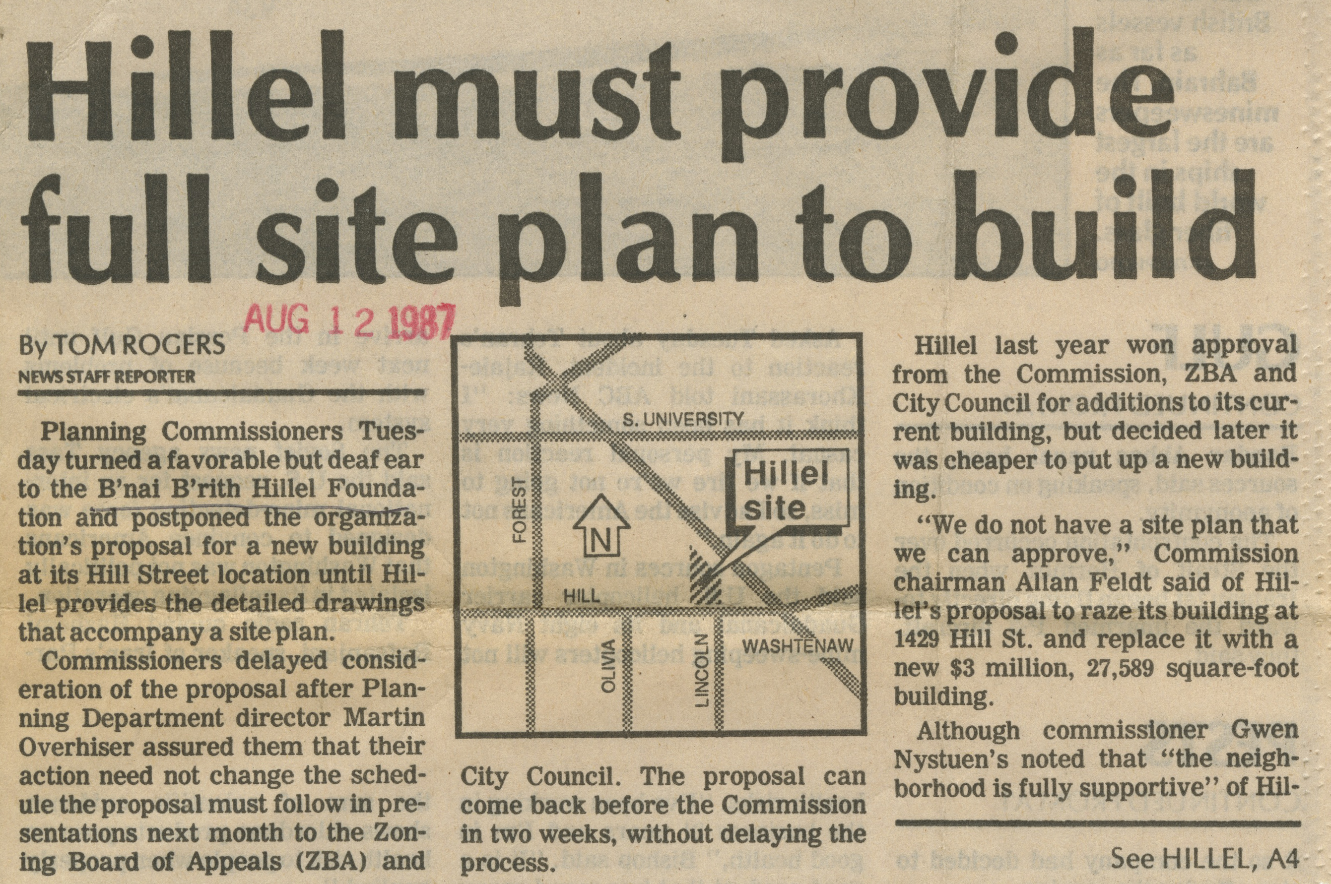 Hillel Must Provide Full Site Plan To Build image