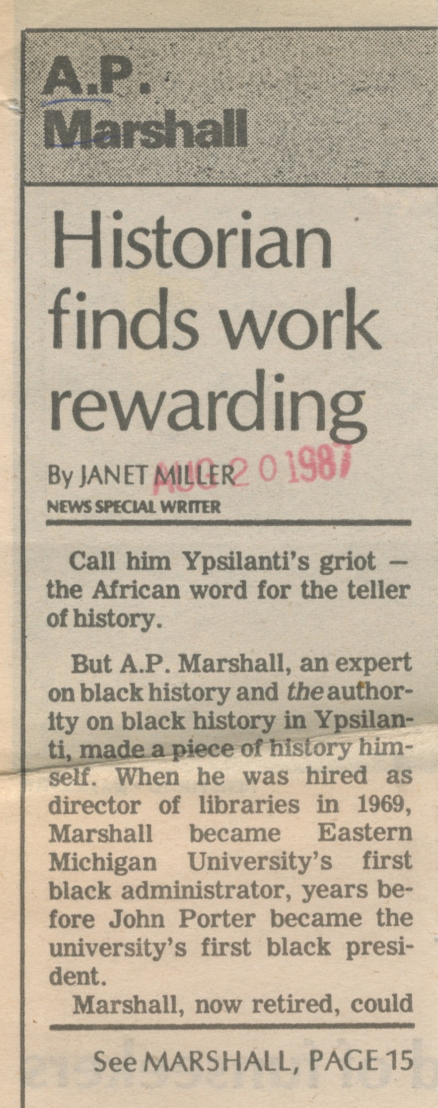 Historian Finds Work Rewarding image