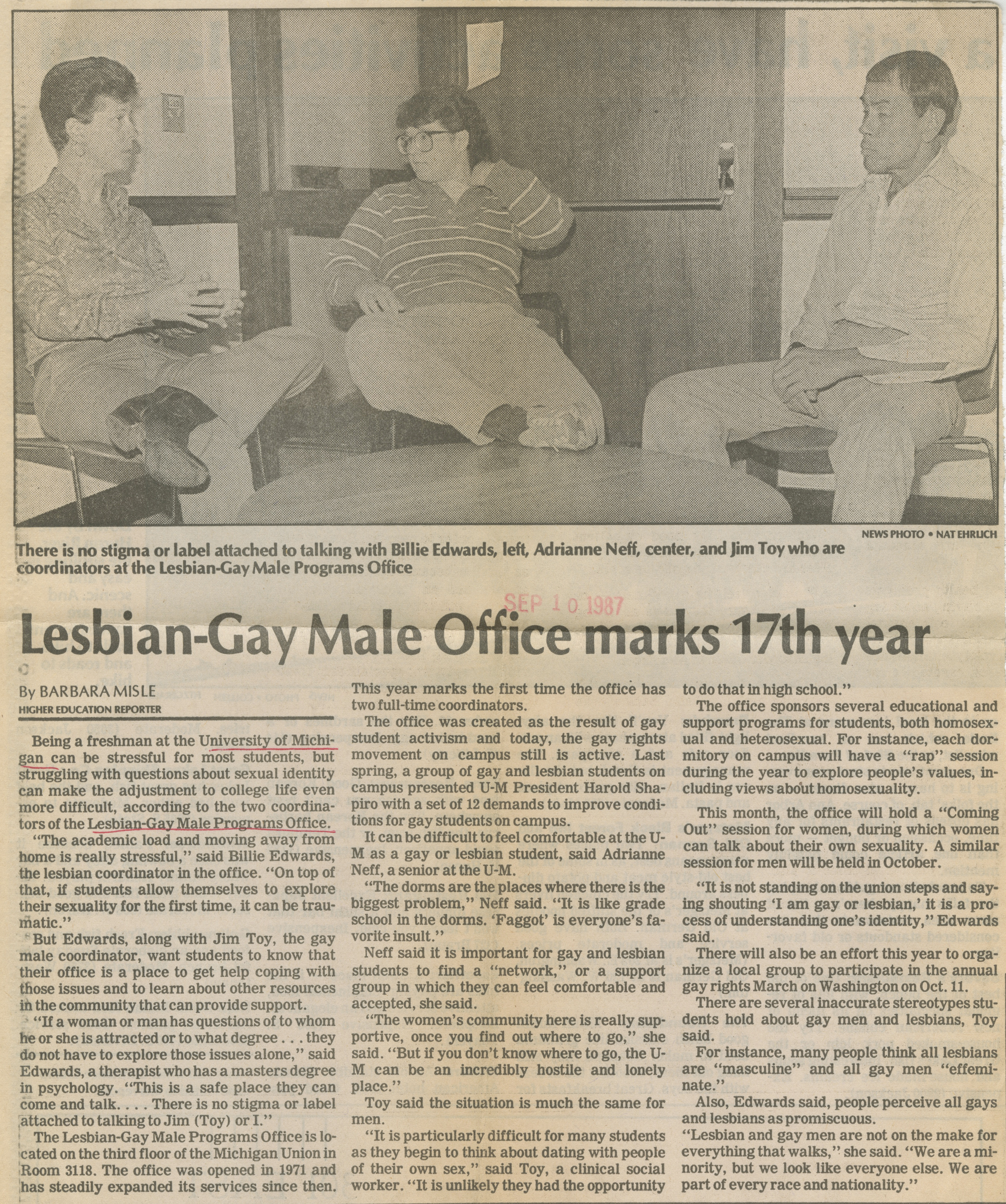 Lesbian-Gay Male Office Marks 17th Year image