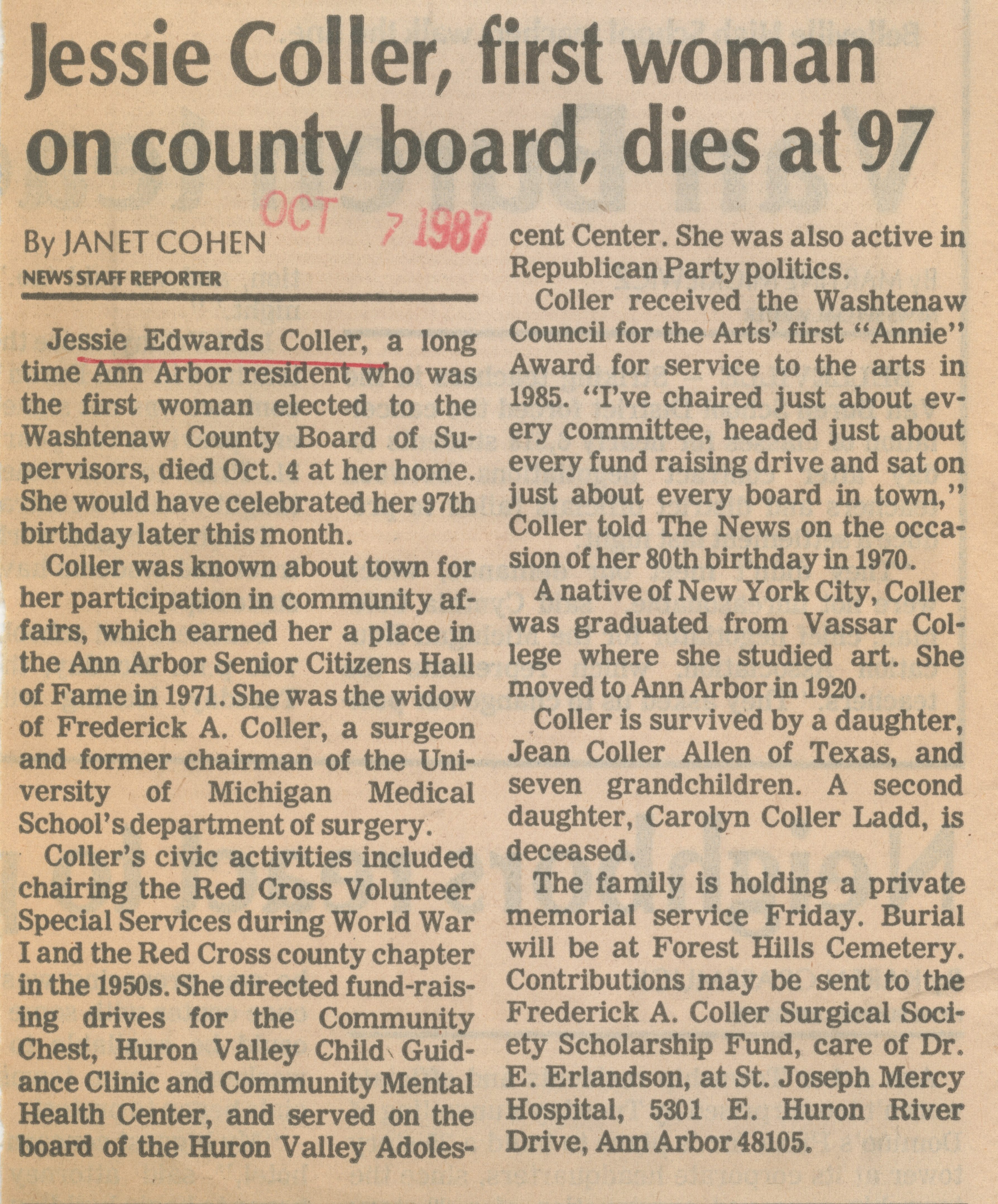 Jessie Coller, first woman on county board, dies at 97 image
