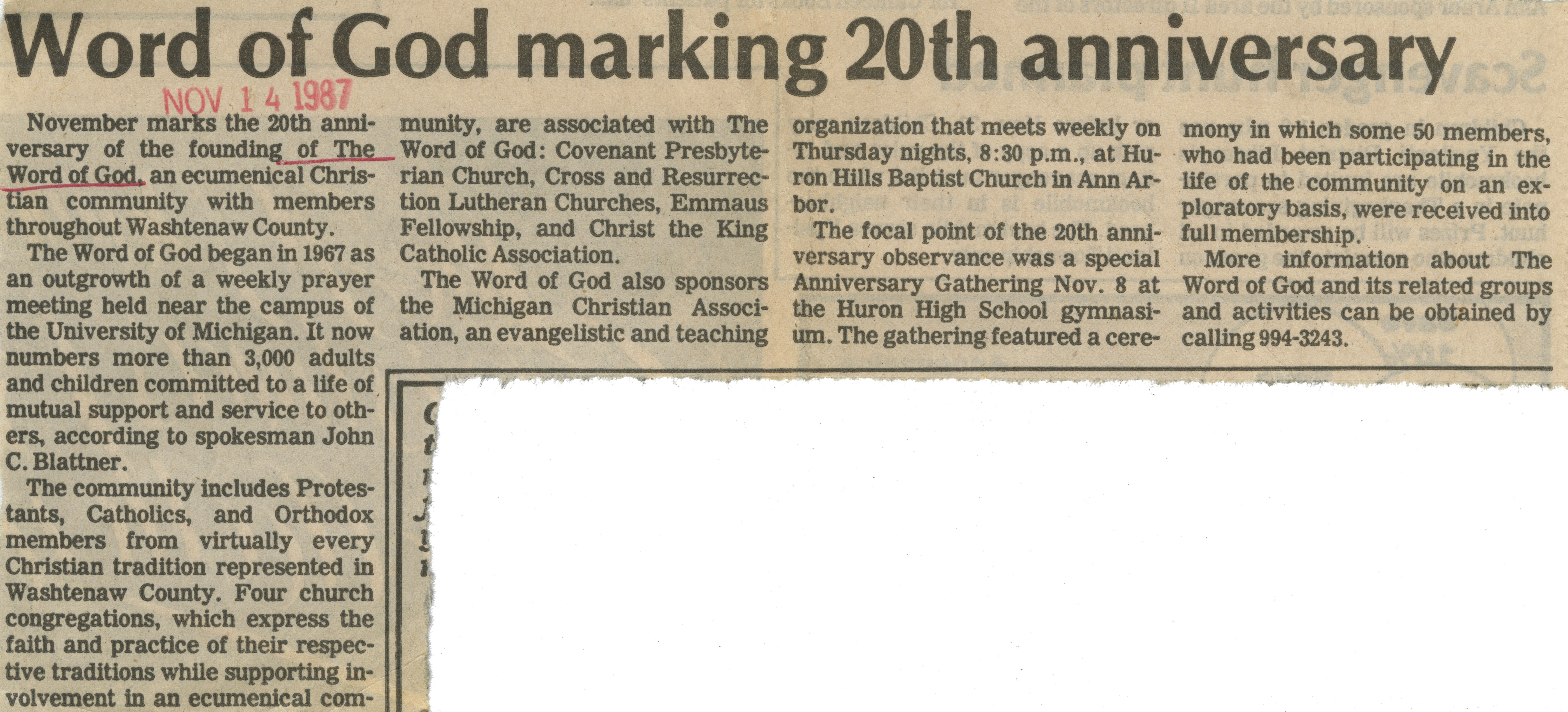 Word Of God Marking 20th Anniversary image