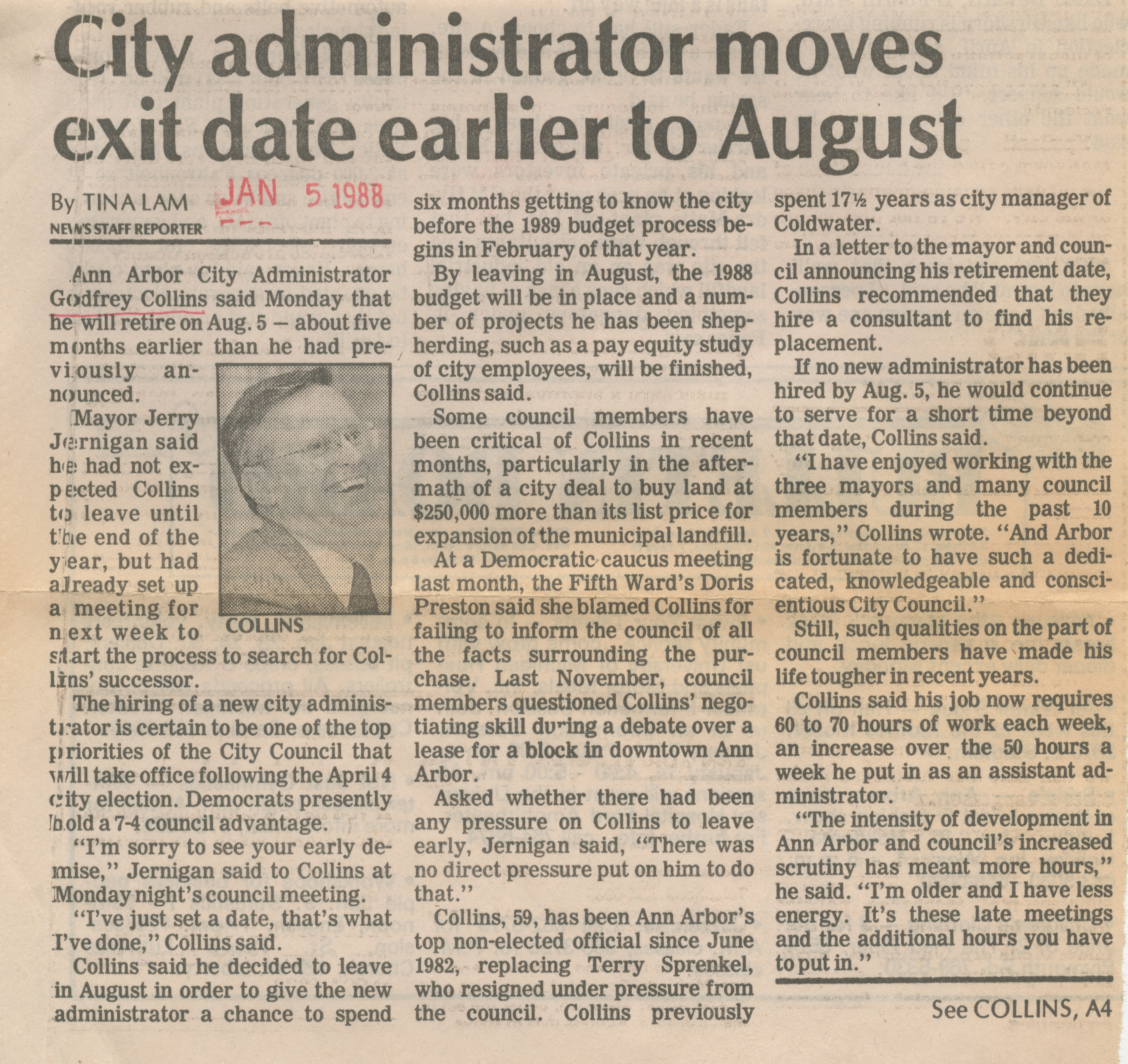 City administrator moves exit date earlier to August image