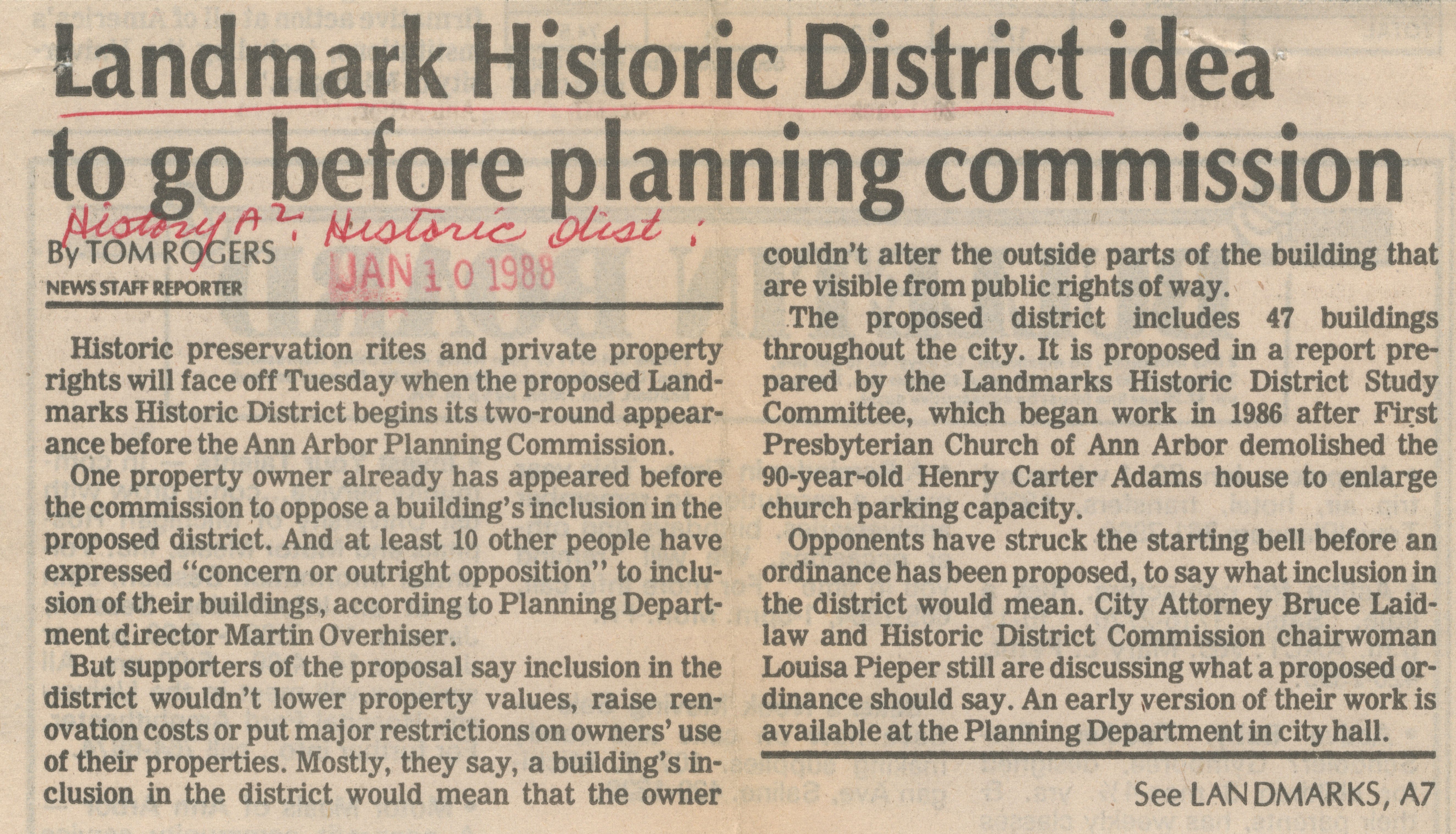 Landmark Historic District idea to go before planning commission image