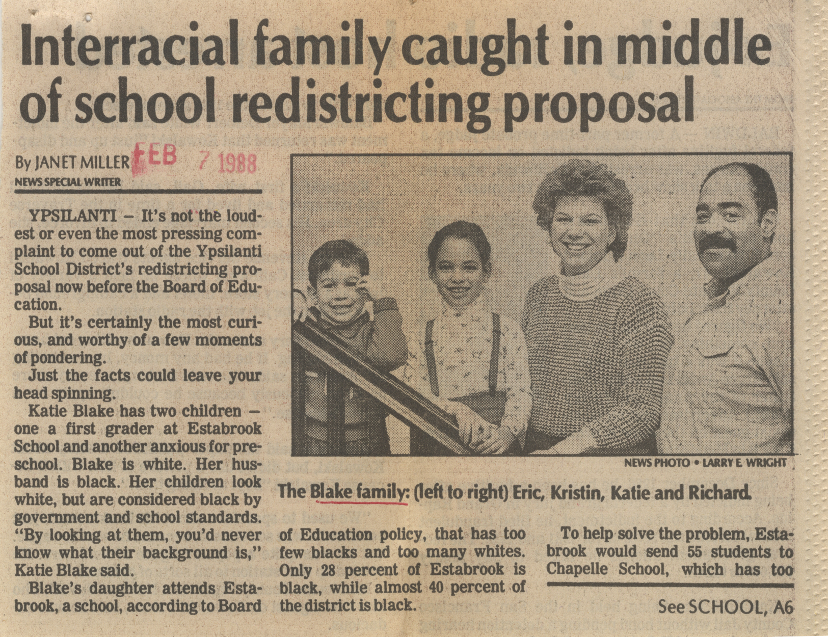 Interracial family caught in middle of school redistricting proposal image